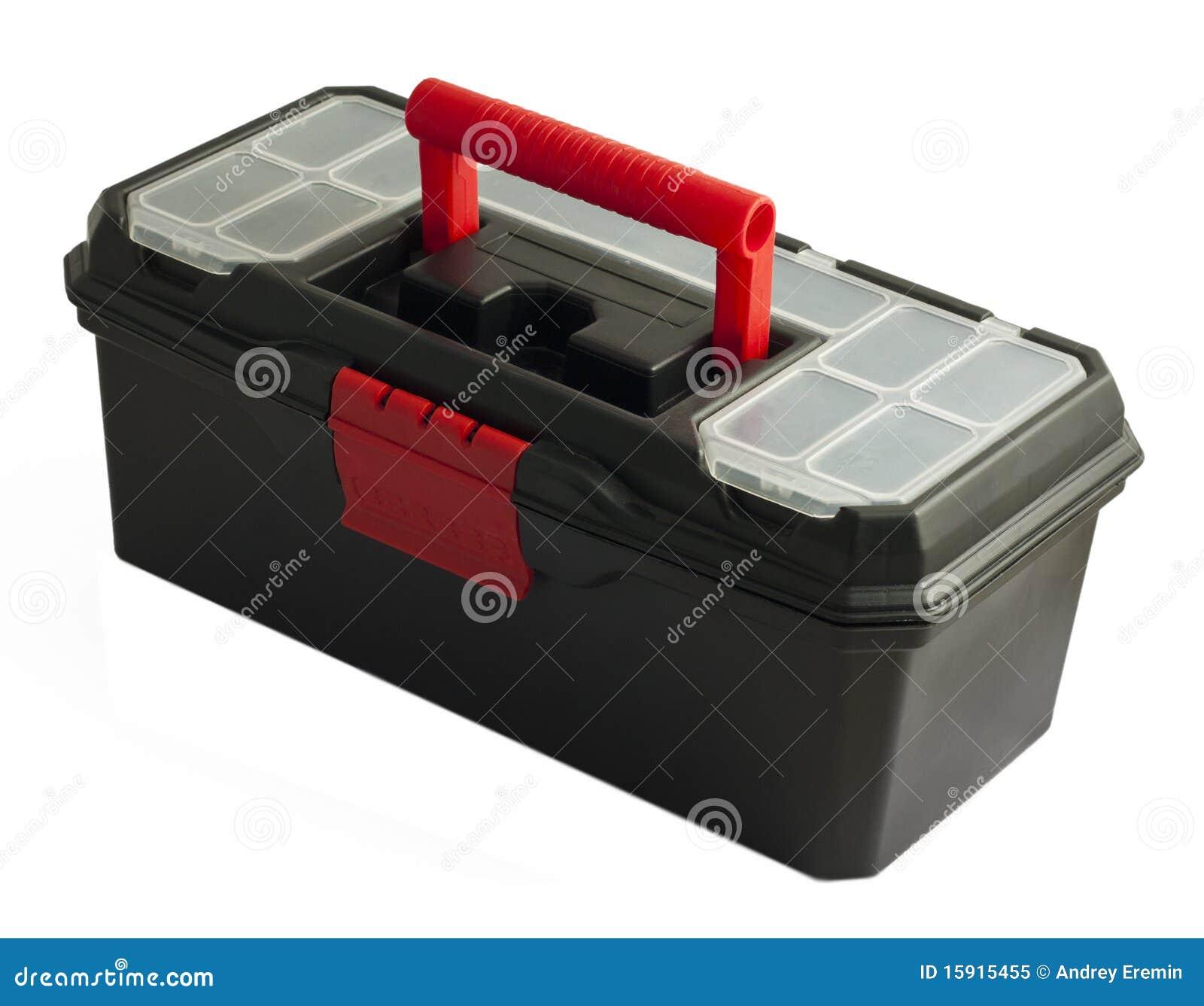 Caja de herramientas negra en el fondo blanco foto de - Caja con herramientas ...