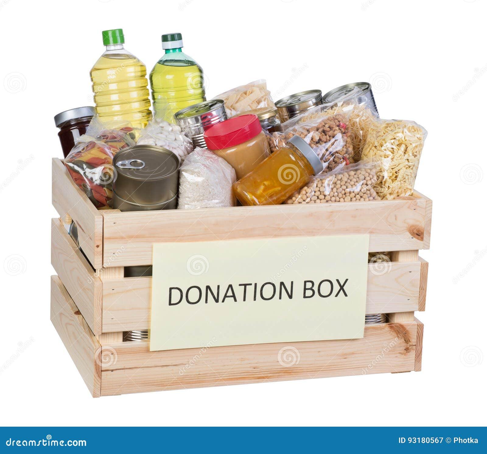 Caja de las donaciones de la comida