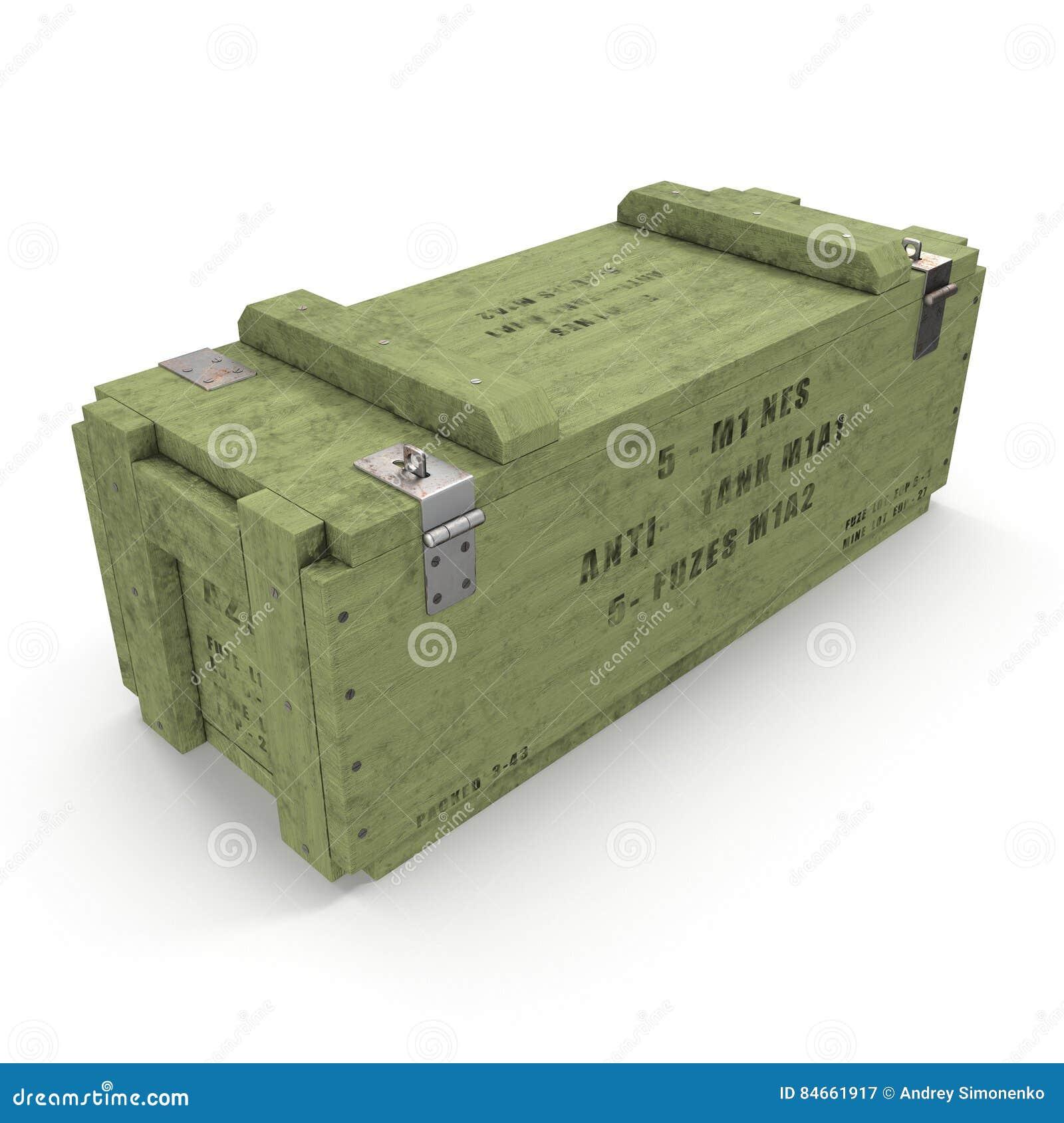 Caja de munición de madera verde vieja en blanco ilustración 3D