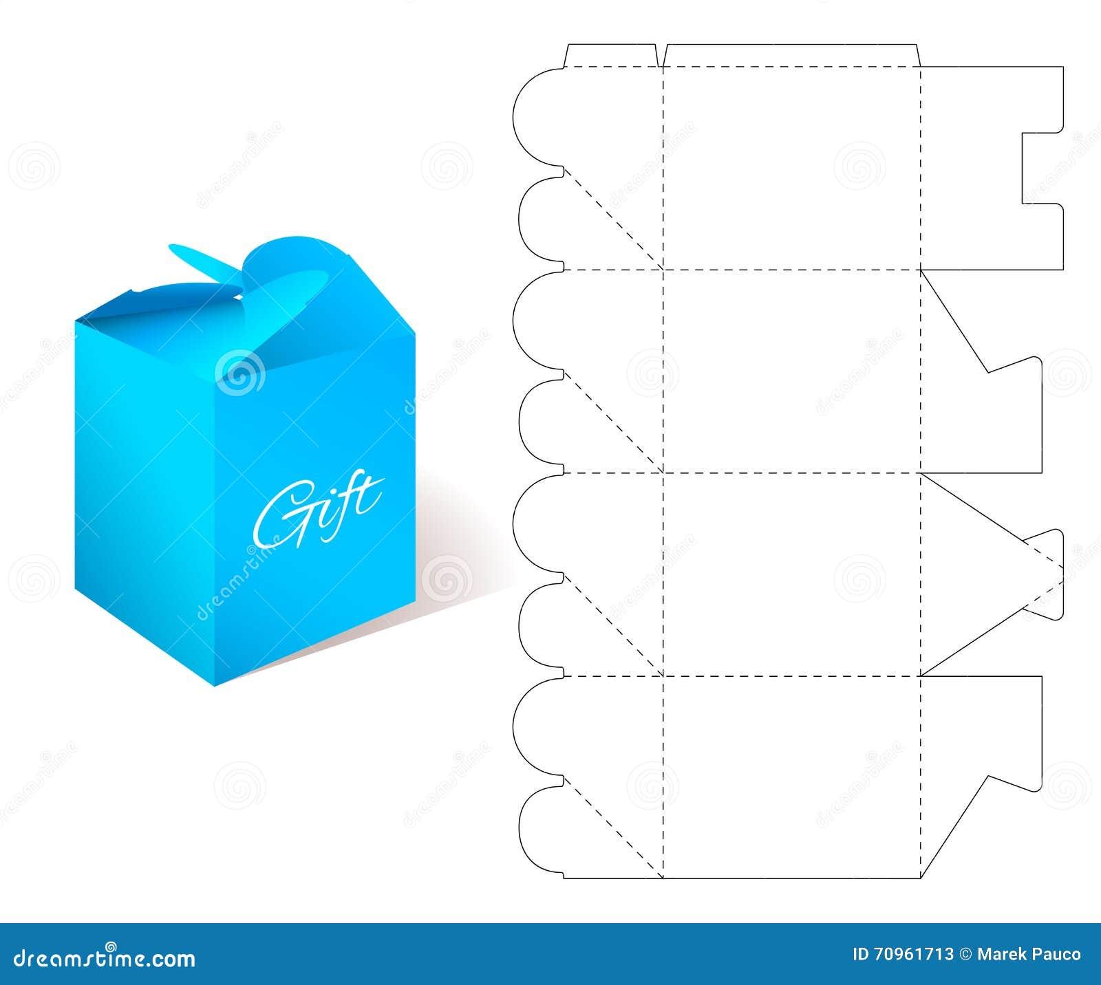 Caja De Papel Del Regalo Con La Plantilla Del Modelo Ilustración ...