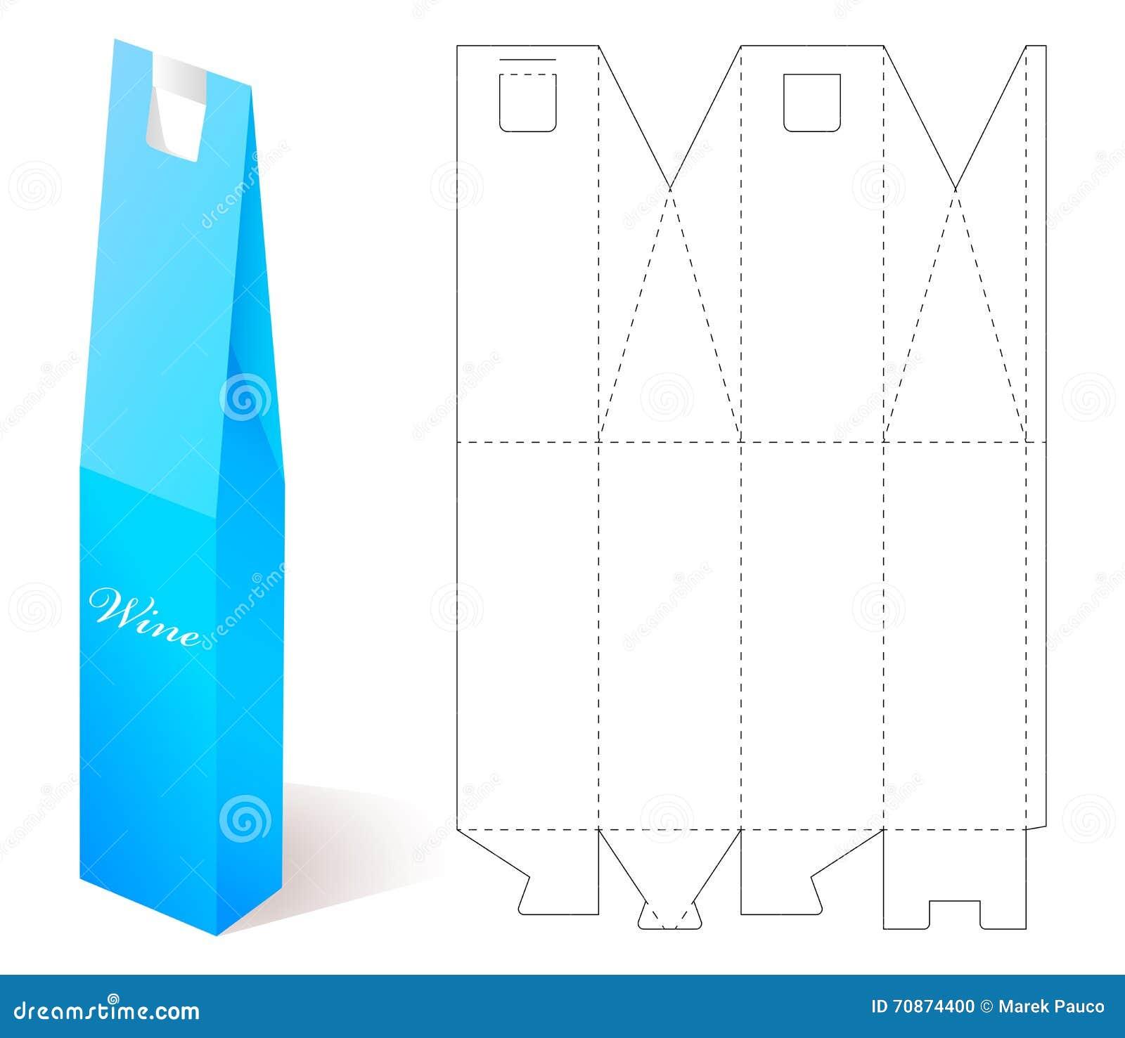 Caja De Papel Del Vino Con La Plantilla Del Modelo Ilustración del ...