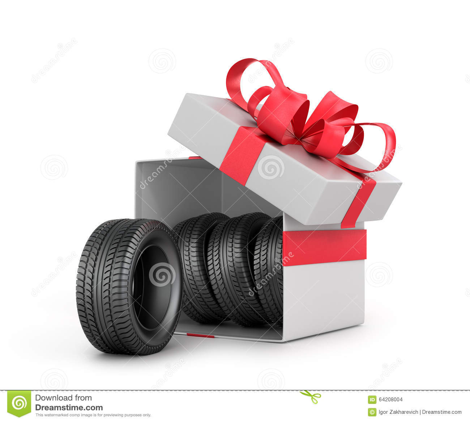Caja de regalo blanca con los neumáticos de coche