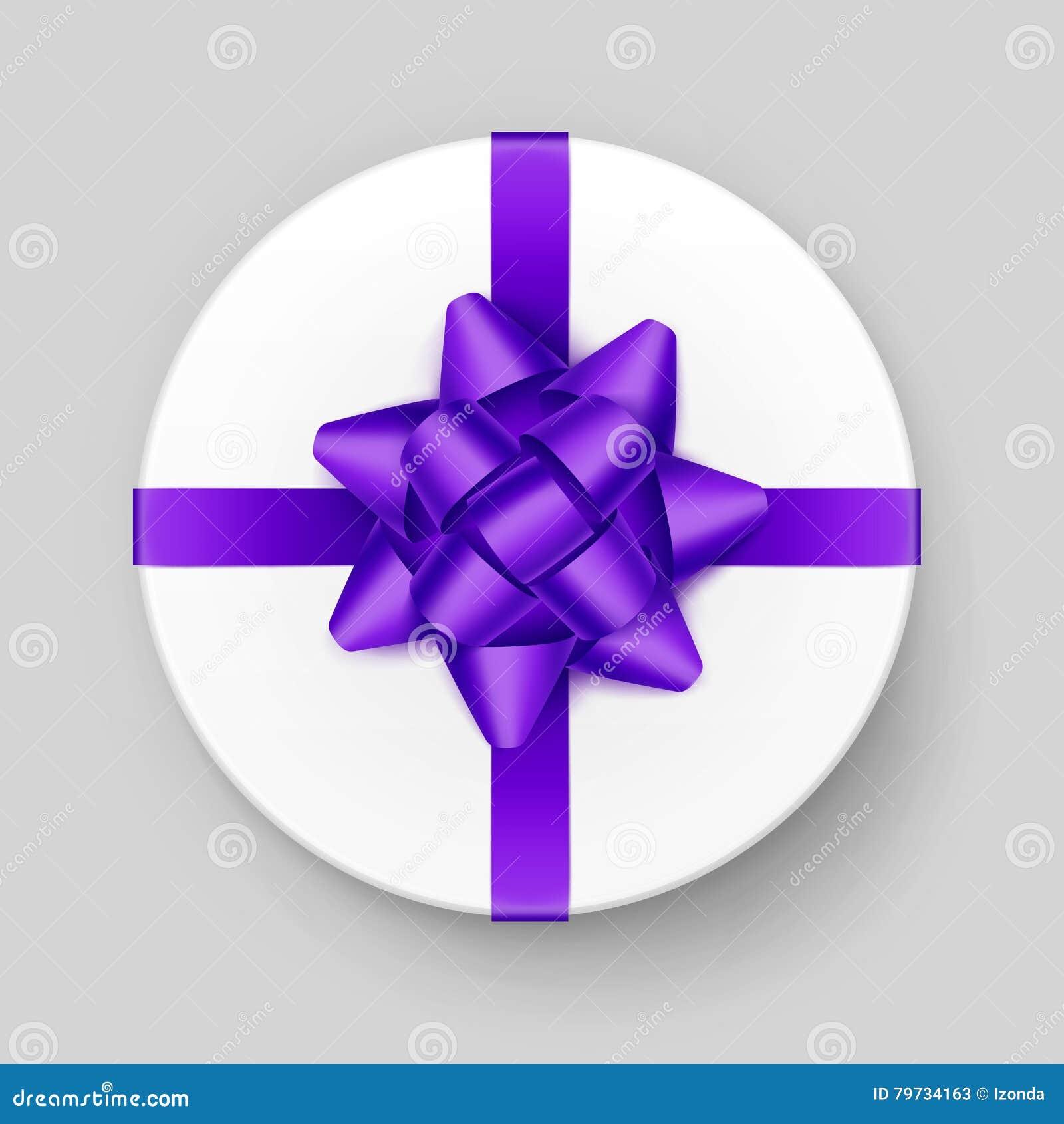 Caja de regalo blanca con Violet Bow y la cinta púrpuras