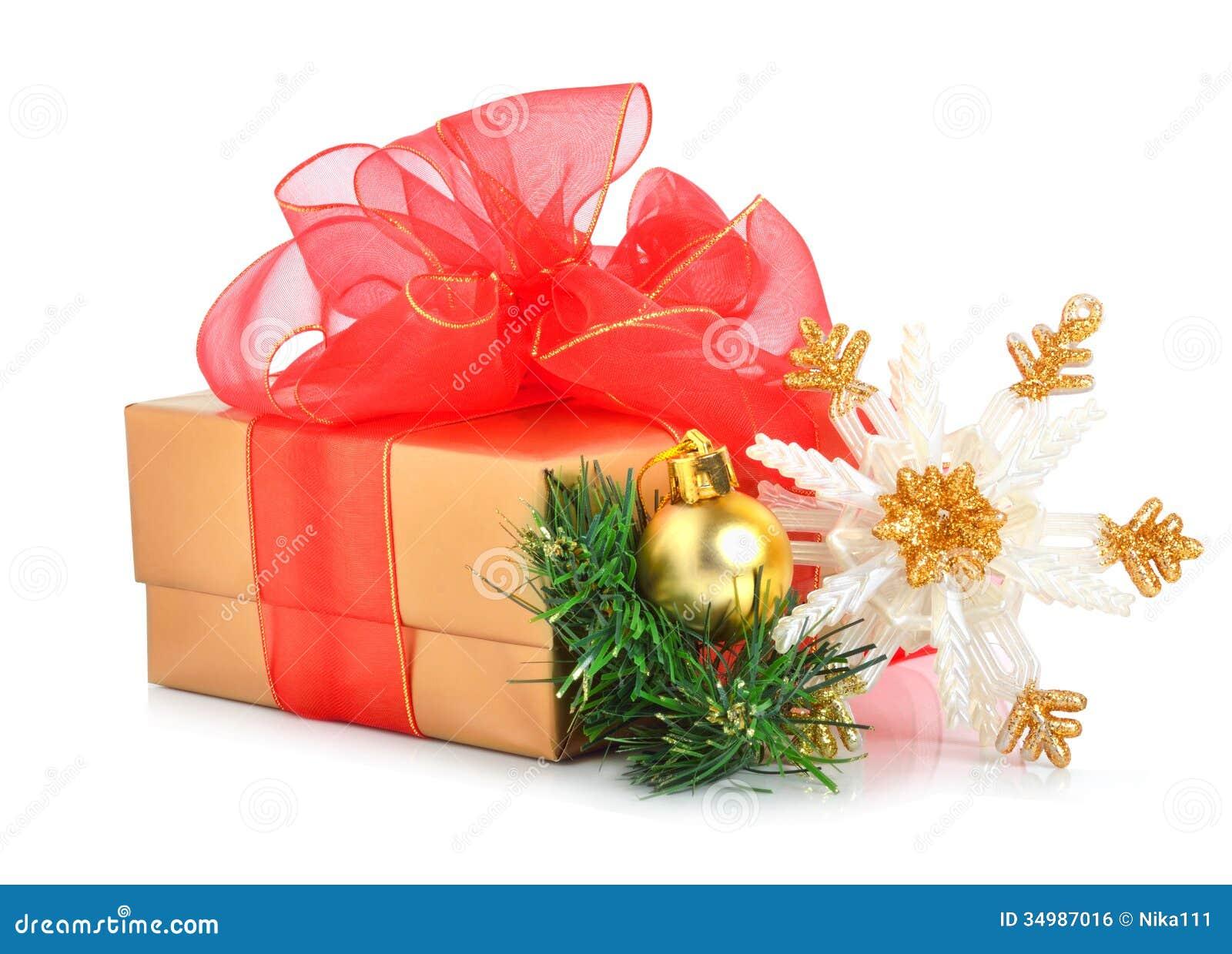 caja de regalo con el arco de la malla el copo de nieve de la