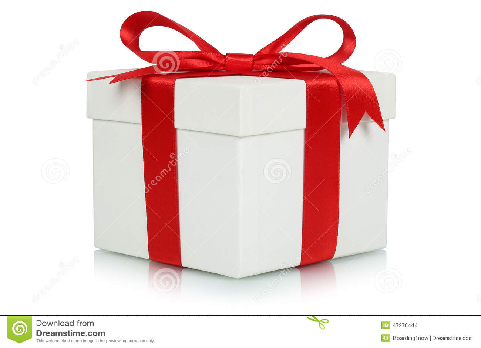 Caja de regalo con el arco para los regalos en la Navidad, el cumpleaños o tarjetas del día de San Valentín