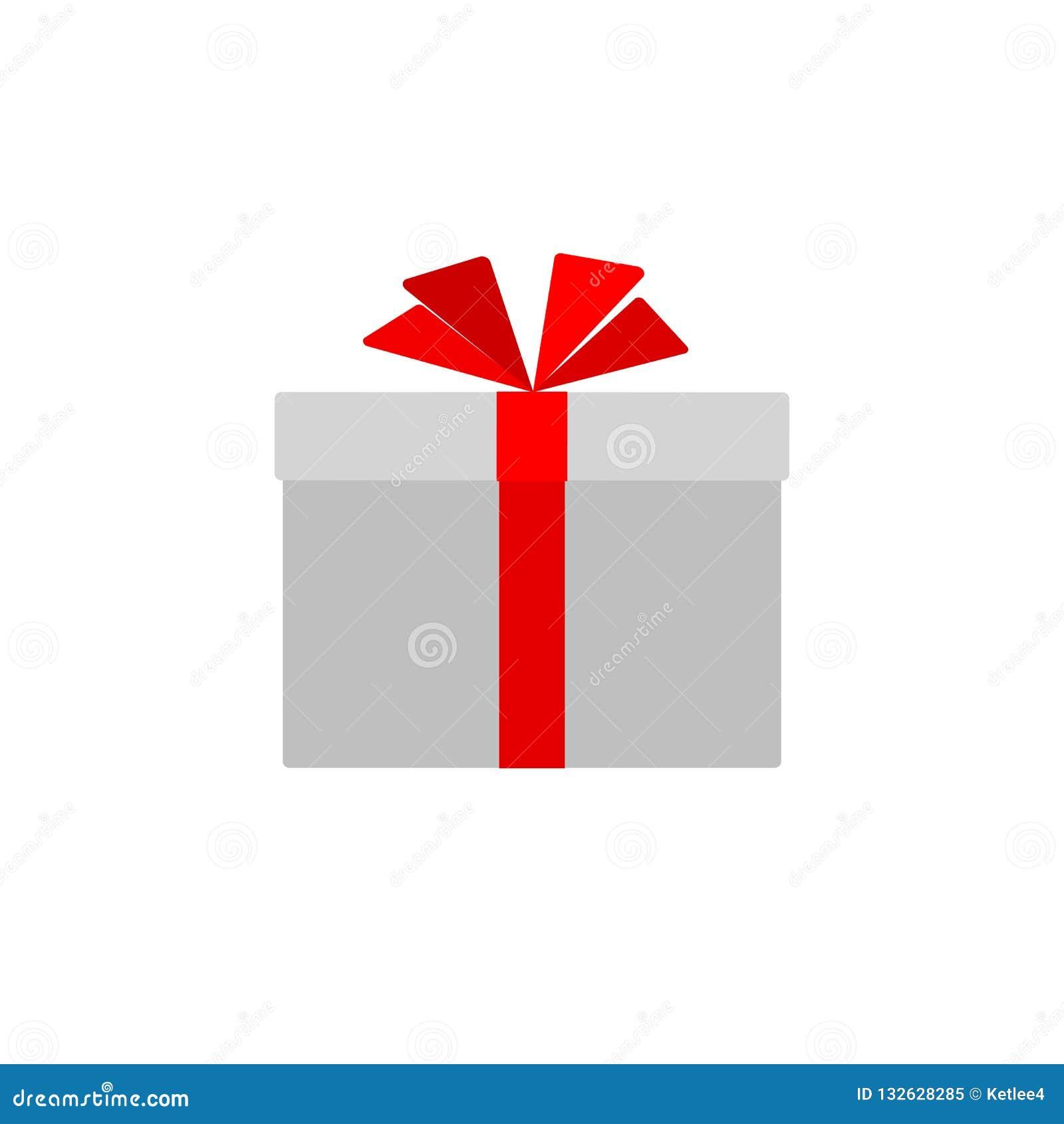 Caja de regalo con el arco rojo de la cinta aislado en el elemento plano simple del diseño del icono de la caja de regalo del fon