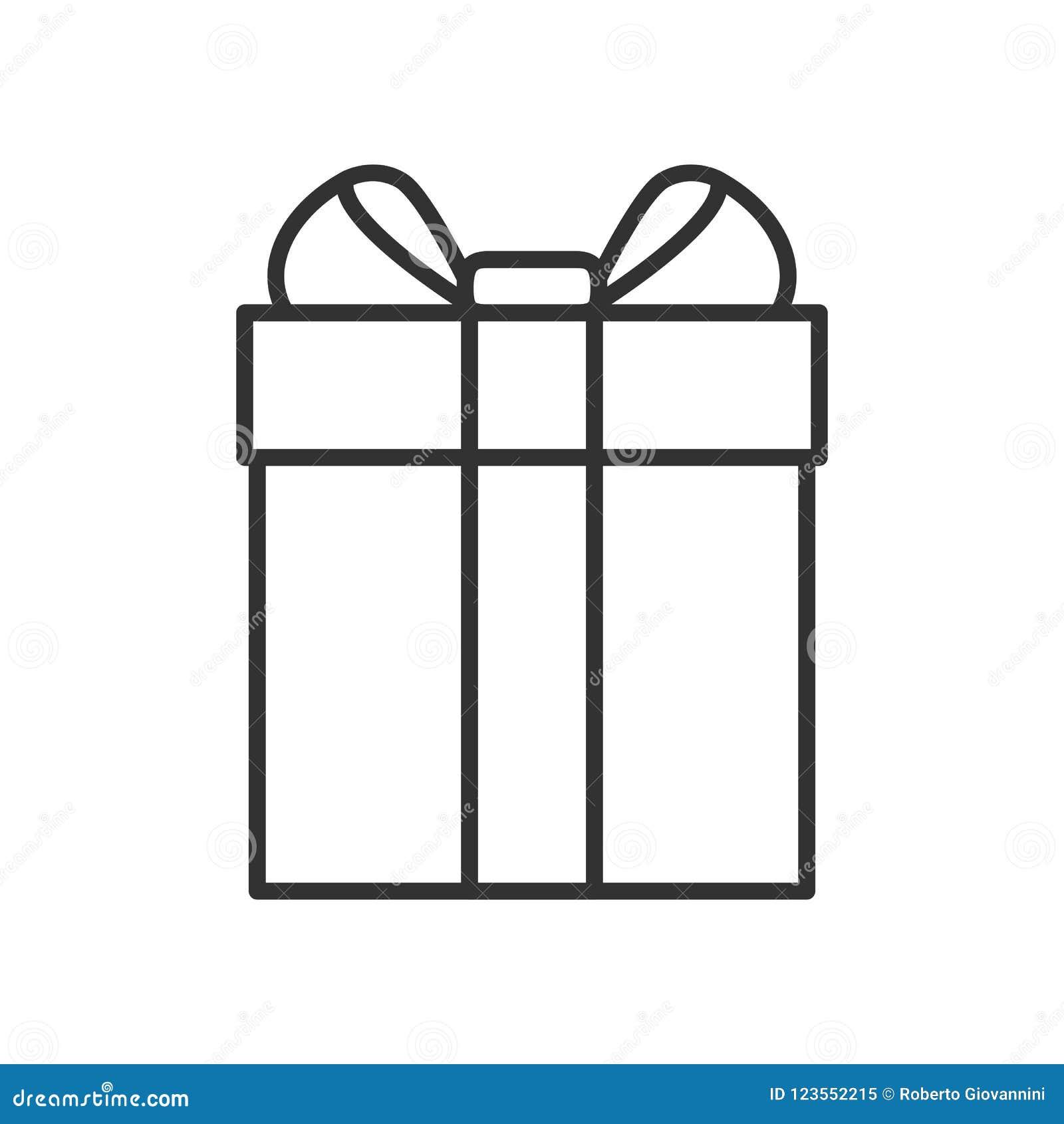 Caja de regalo con el icono del esquema de la cinta en blanco