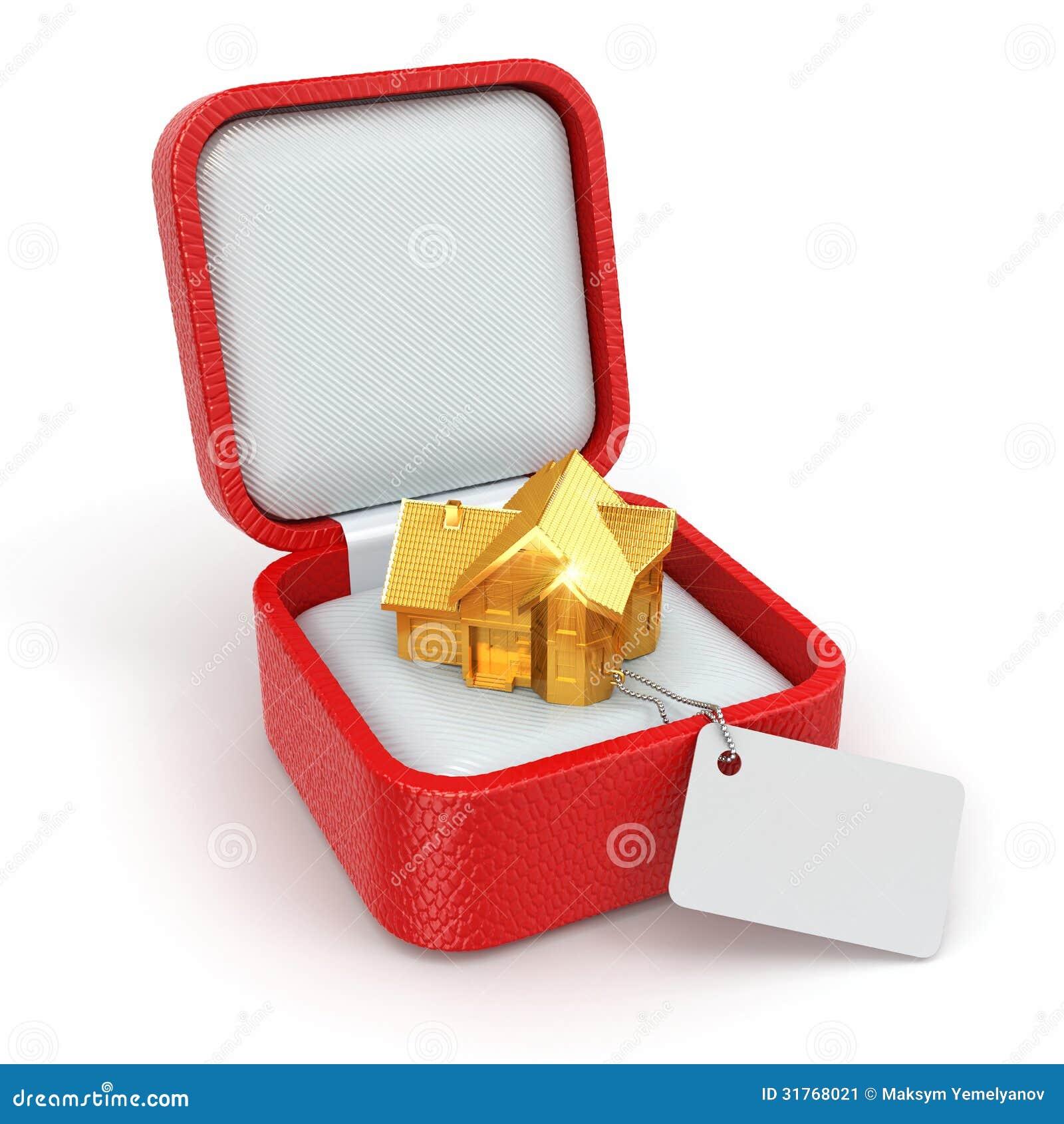 Caja de regalo con la casa concepto de las propiedades for Inmobiliaria o inmobiliaria
