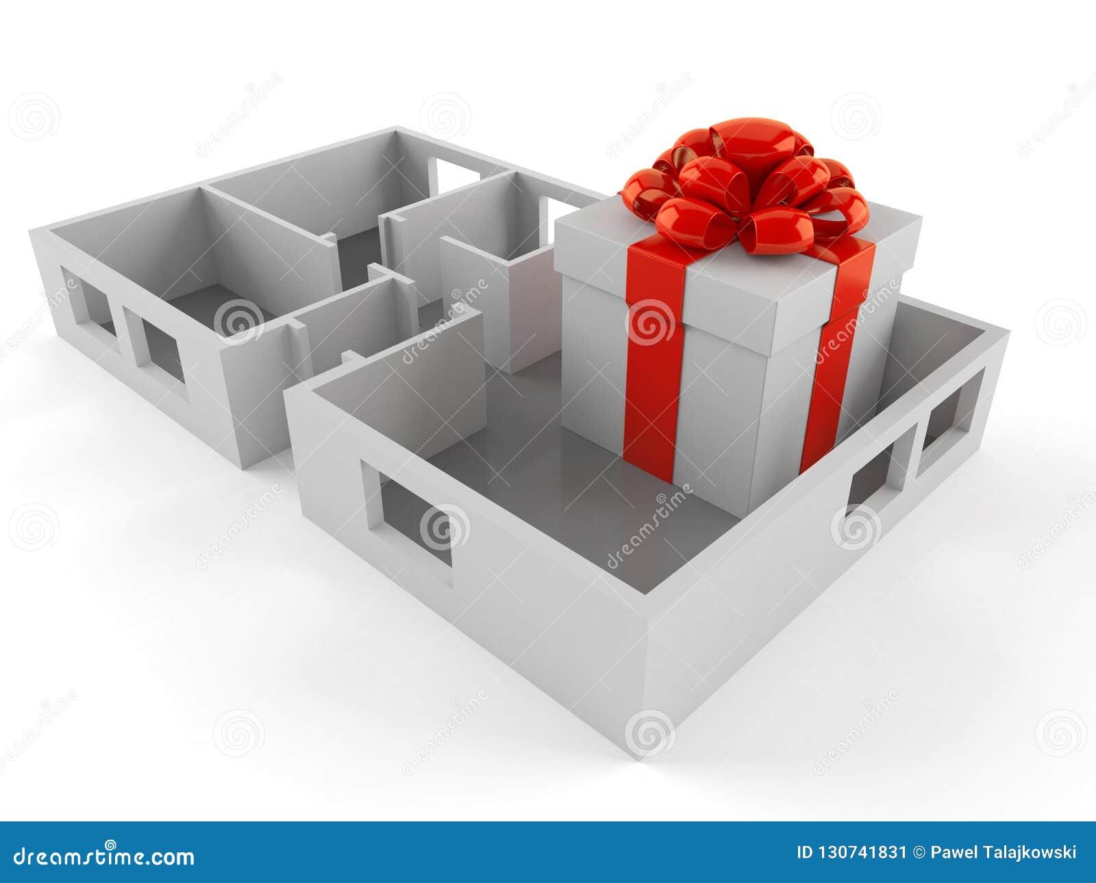 Caja de regalo dentro del plan de la casa