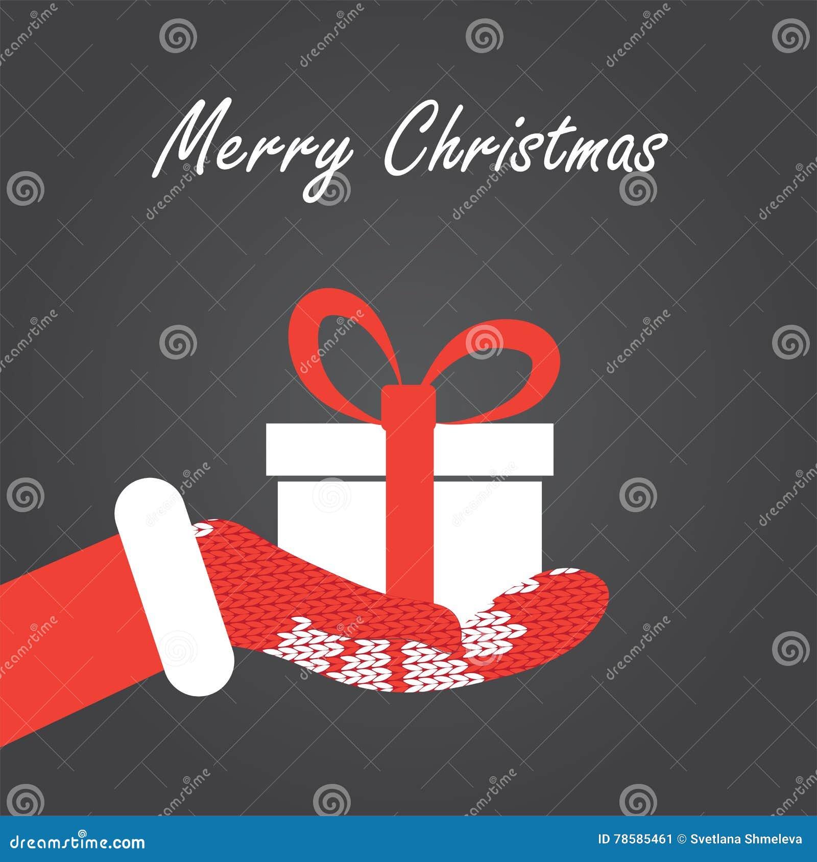 Caja de regalo en la mano de Santas