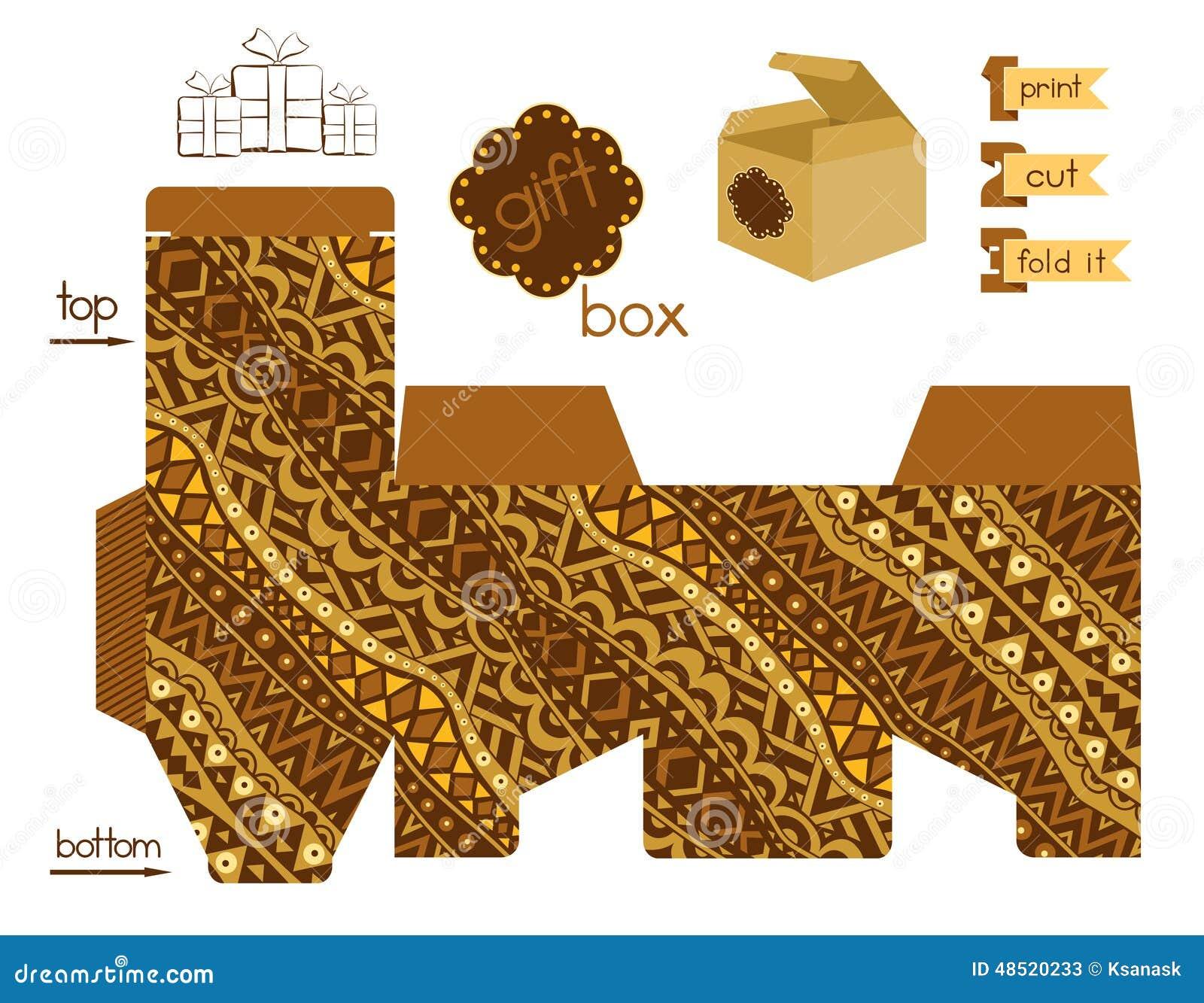 Caja De Regalo Imprimible Con El Modelo Tribal Abstracto Ilustración ...