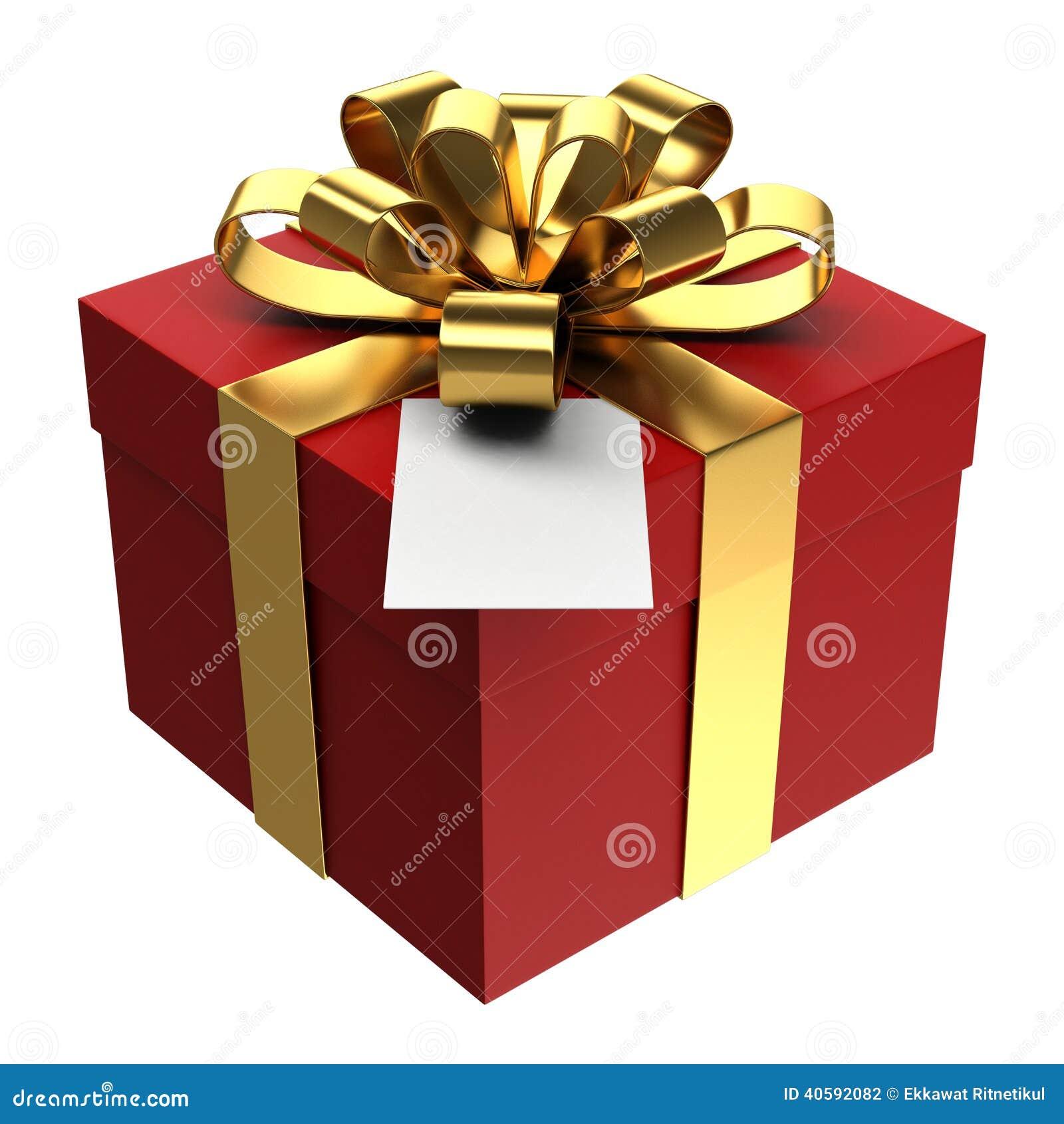 Caja de regalo roja con la cinta de oro y la tarjeta de - Papel de regalo transparente ...