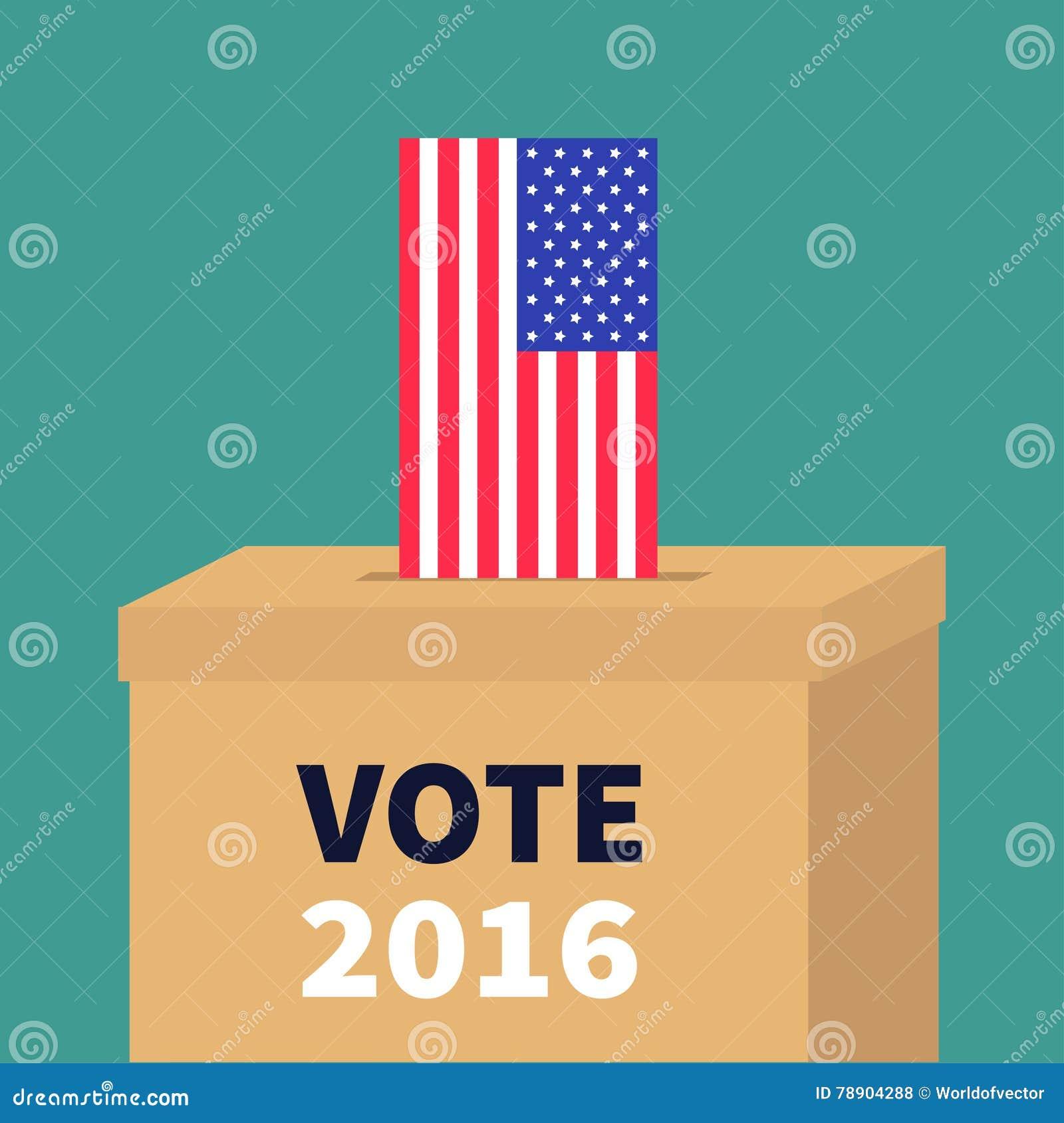 Caja de votación de la votación con concepto del boletín del espacio en blanco del papel de bandera americana