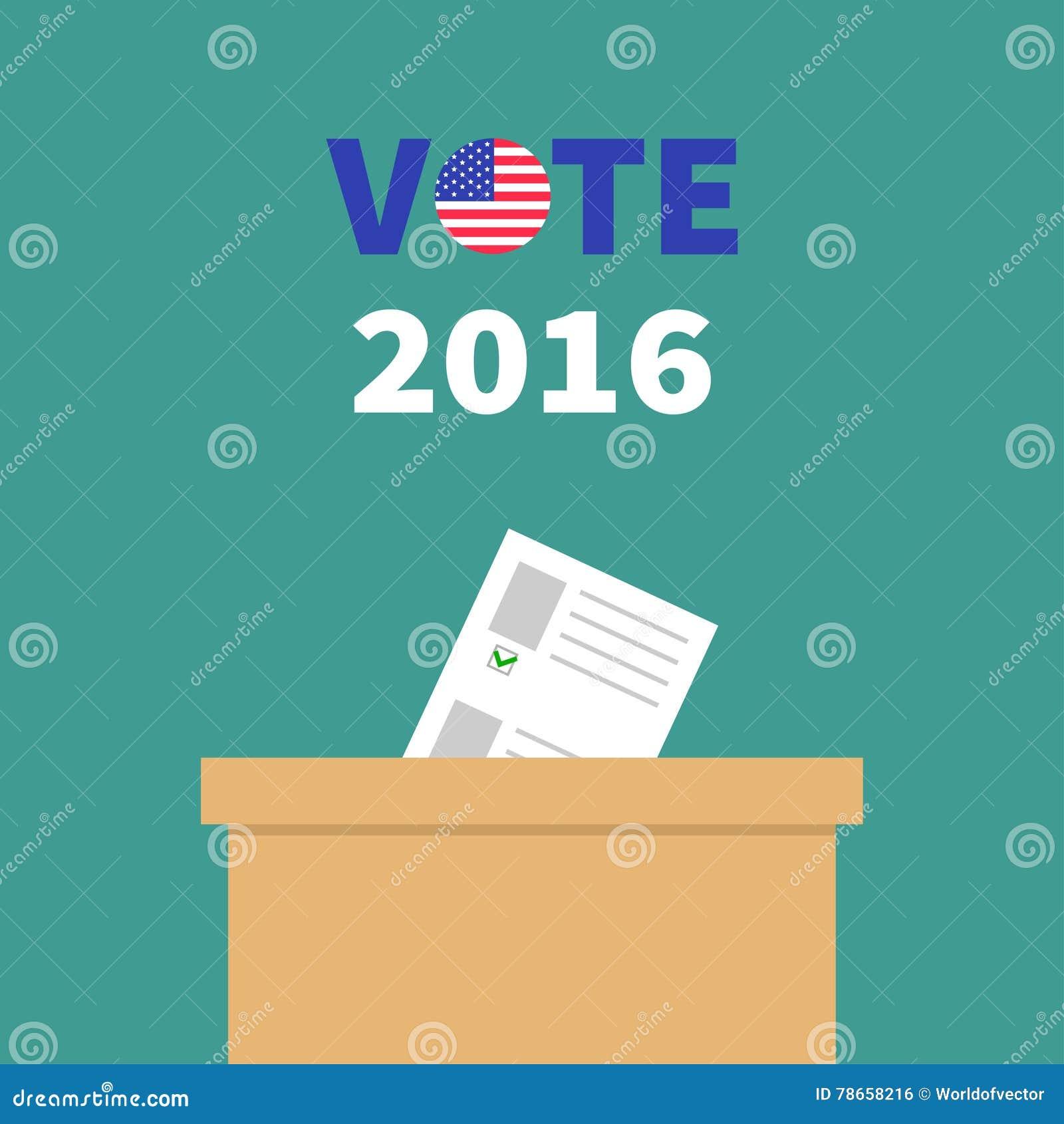 Caja de votación de la votación con el concepto en blanco de papel de la opción del boletín Colegio electoral Insignia redonda de