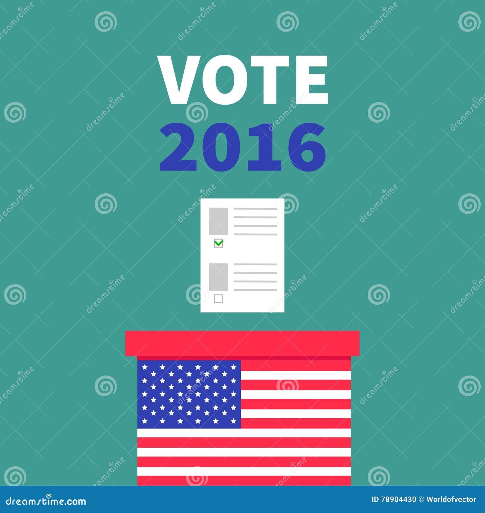 Caja de votación de la votación de la bandera americana con el concepto en blanco de papel del boletín