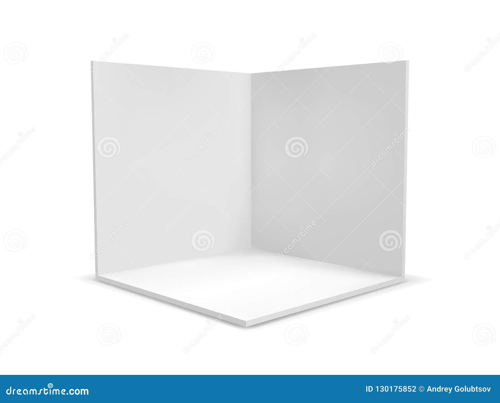 Caja del cubo o corte transversal interior del sitio de la esquina Caja en blanco geométrica vacía blanca del cuadrado 3D del vec