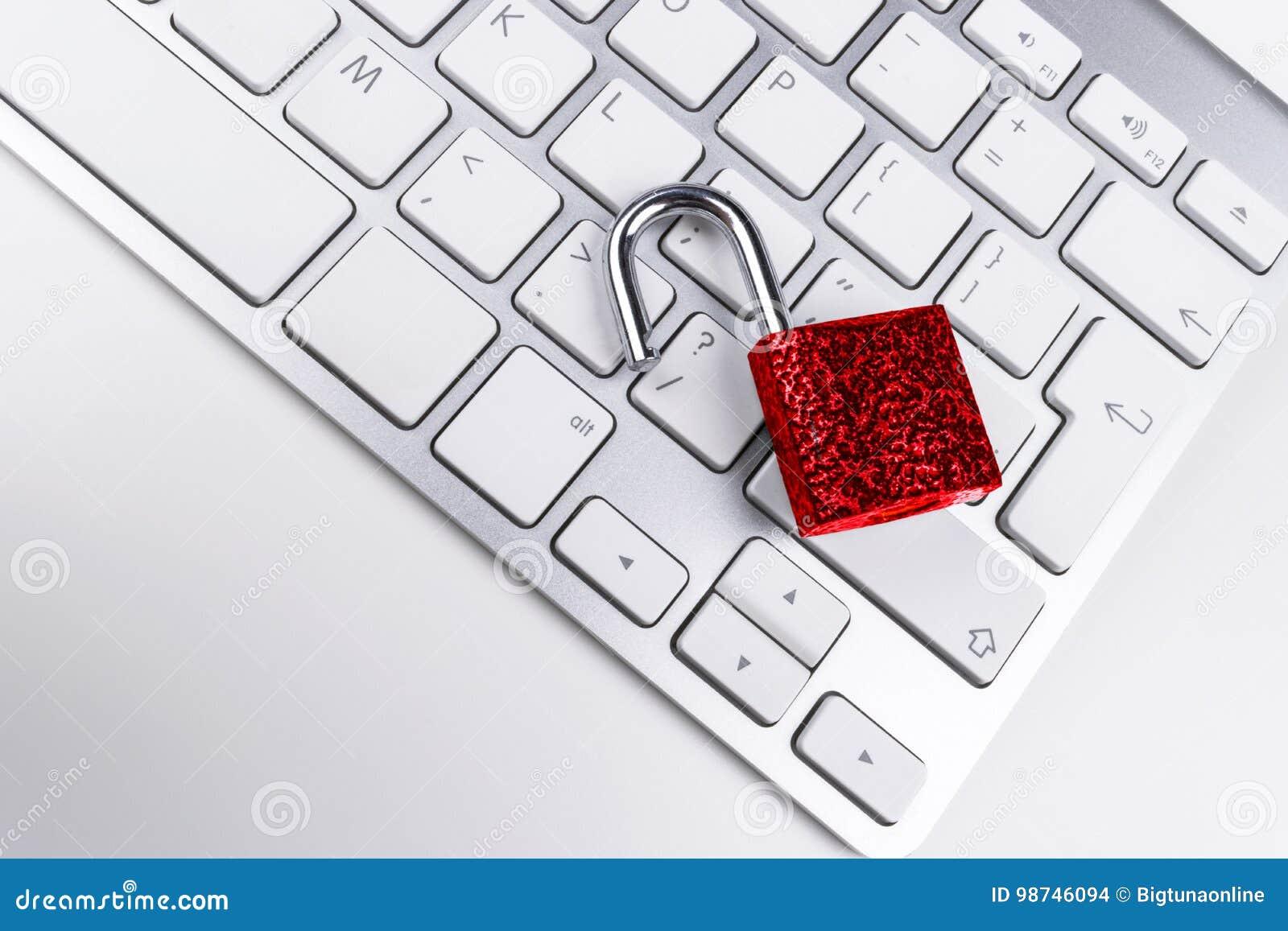 Caja fuerte bloqueada del ordenador del ataque del virus o del malware Ordenador portátil que es protegido contra crimen y cortar