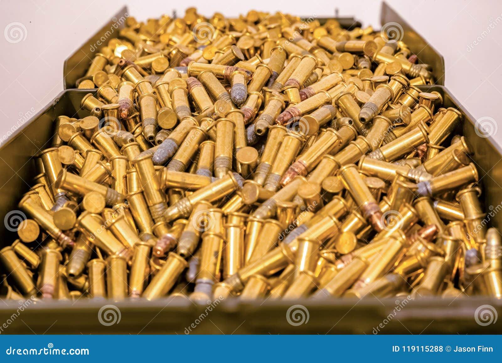 Caja grande de la munición por completo de balas