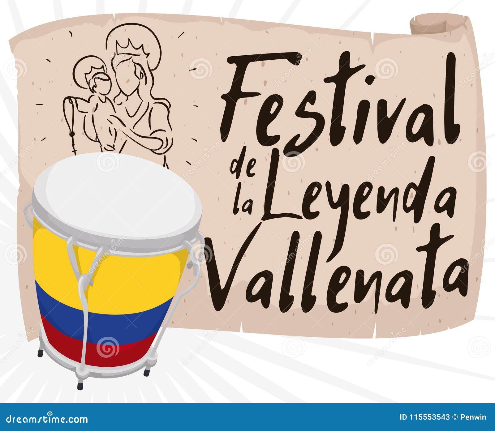 Caja och snirkel med religiös attraktion som främjar den Vallenato legendfestivalen, vektorillustration