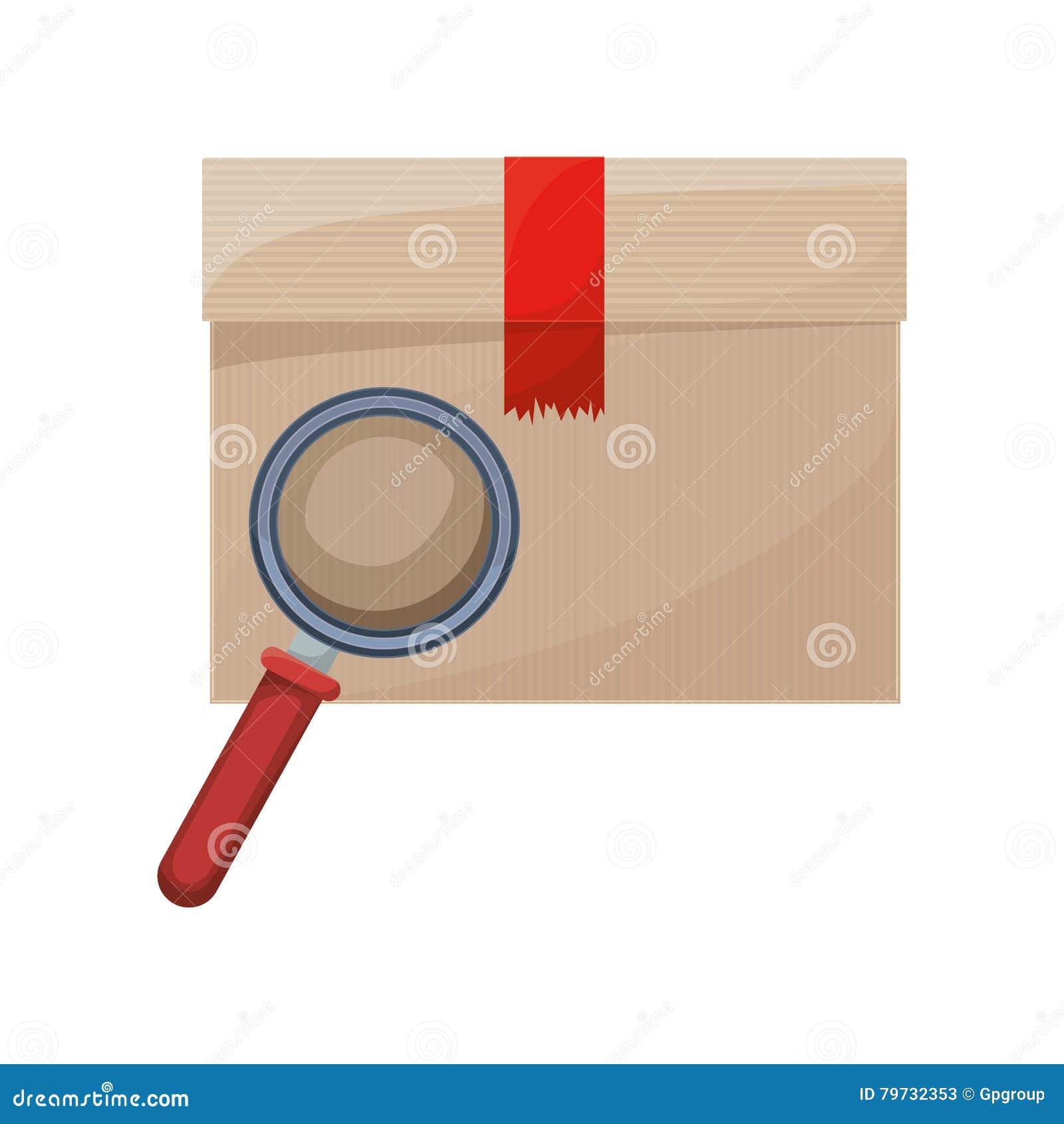 Caja sellada con la lupa