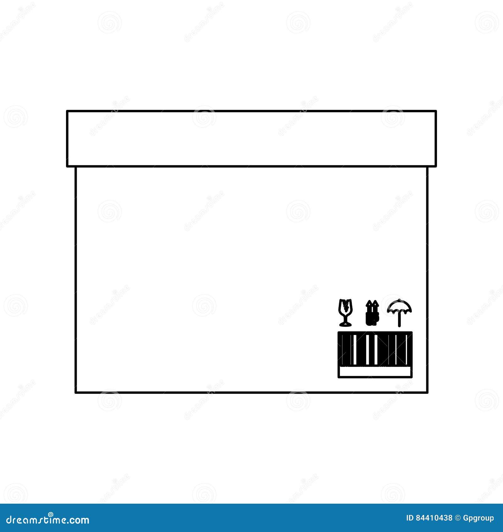 Caja sellada del contorno negro de la silueta con la cinta del embalaje