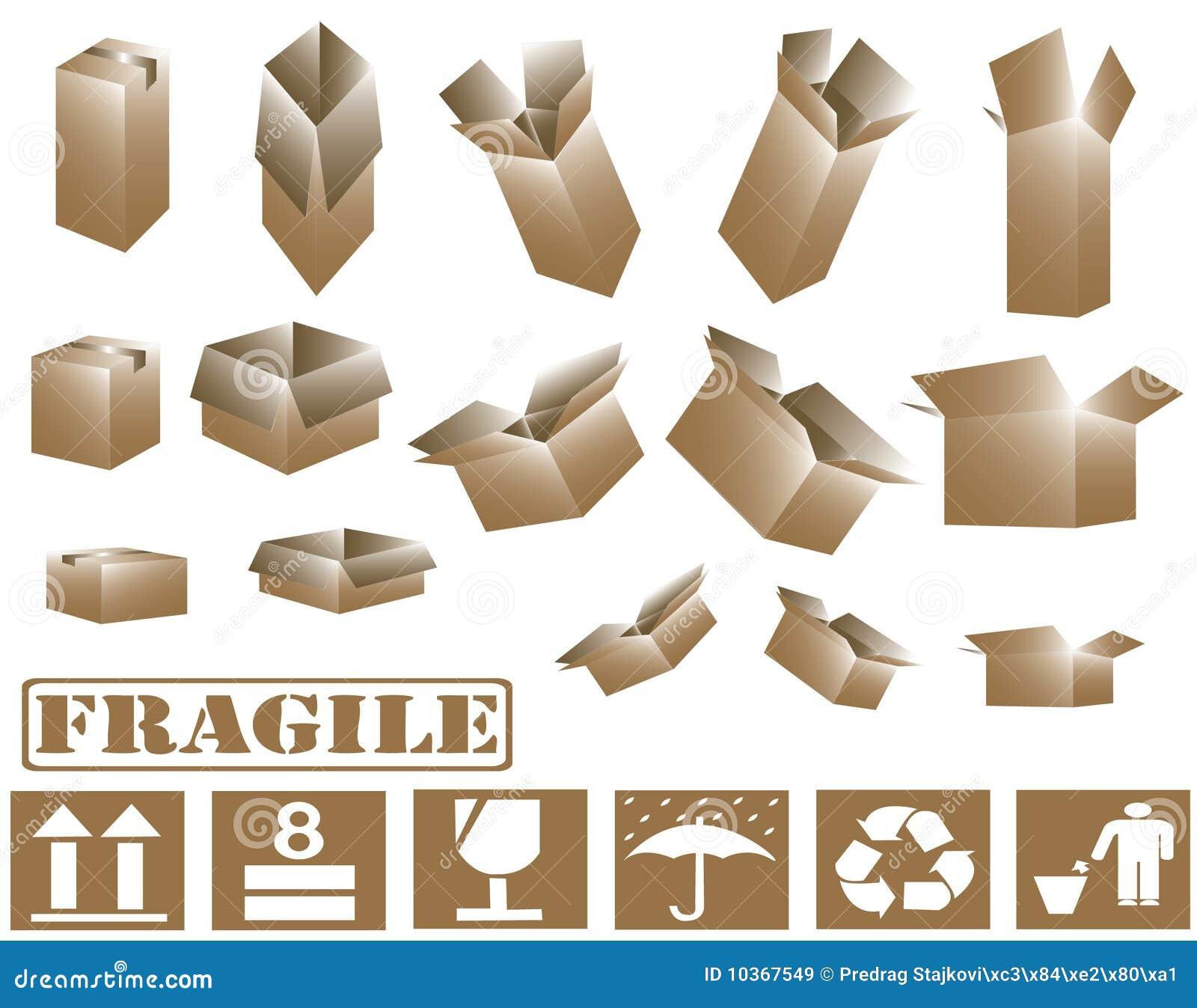 Cajas de cartón 3d y colección marrones de la muestra