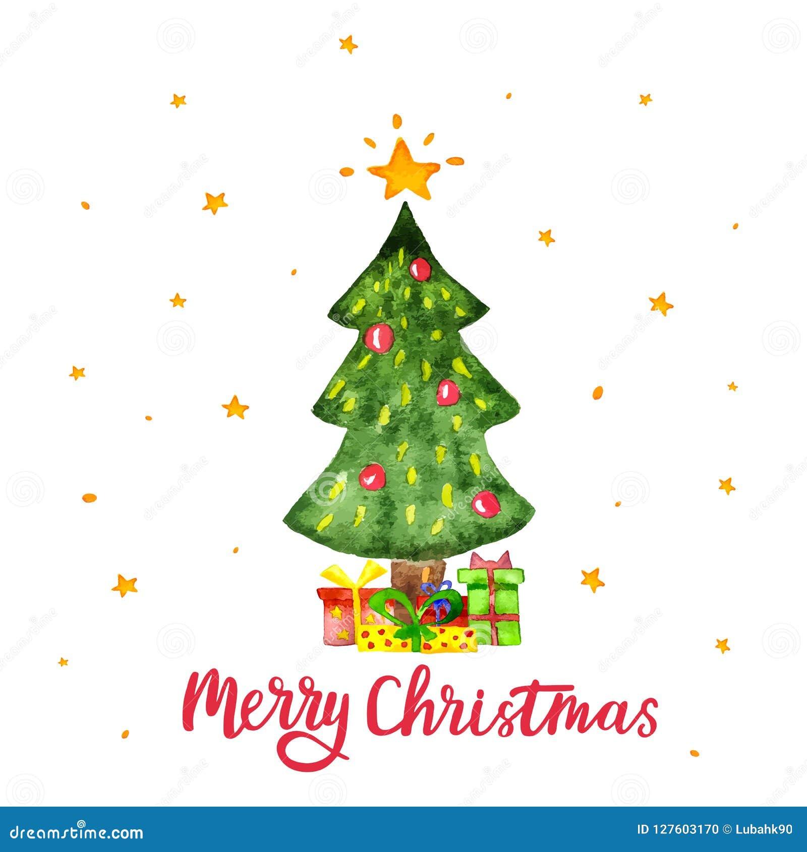 Cajas del árbol de navidad y de regalo de la acuarela aisladas en el fondo blanco La Feliz Navidad y la Feliz Año Nuevo vector la