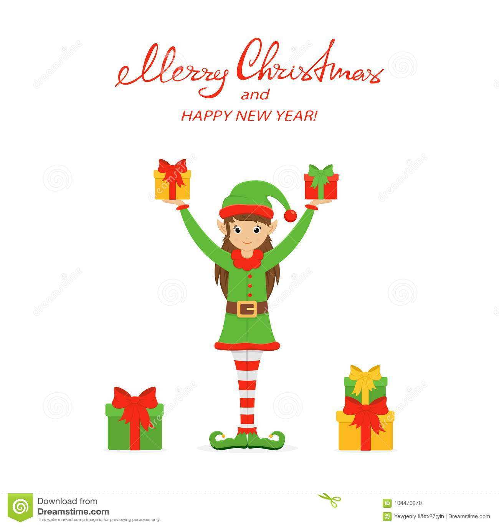 Cajas lindas felices del duende y de regalo en un fondo de la Navidad blanca