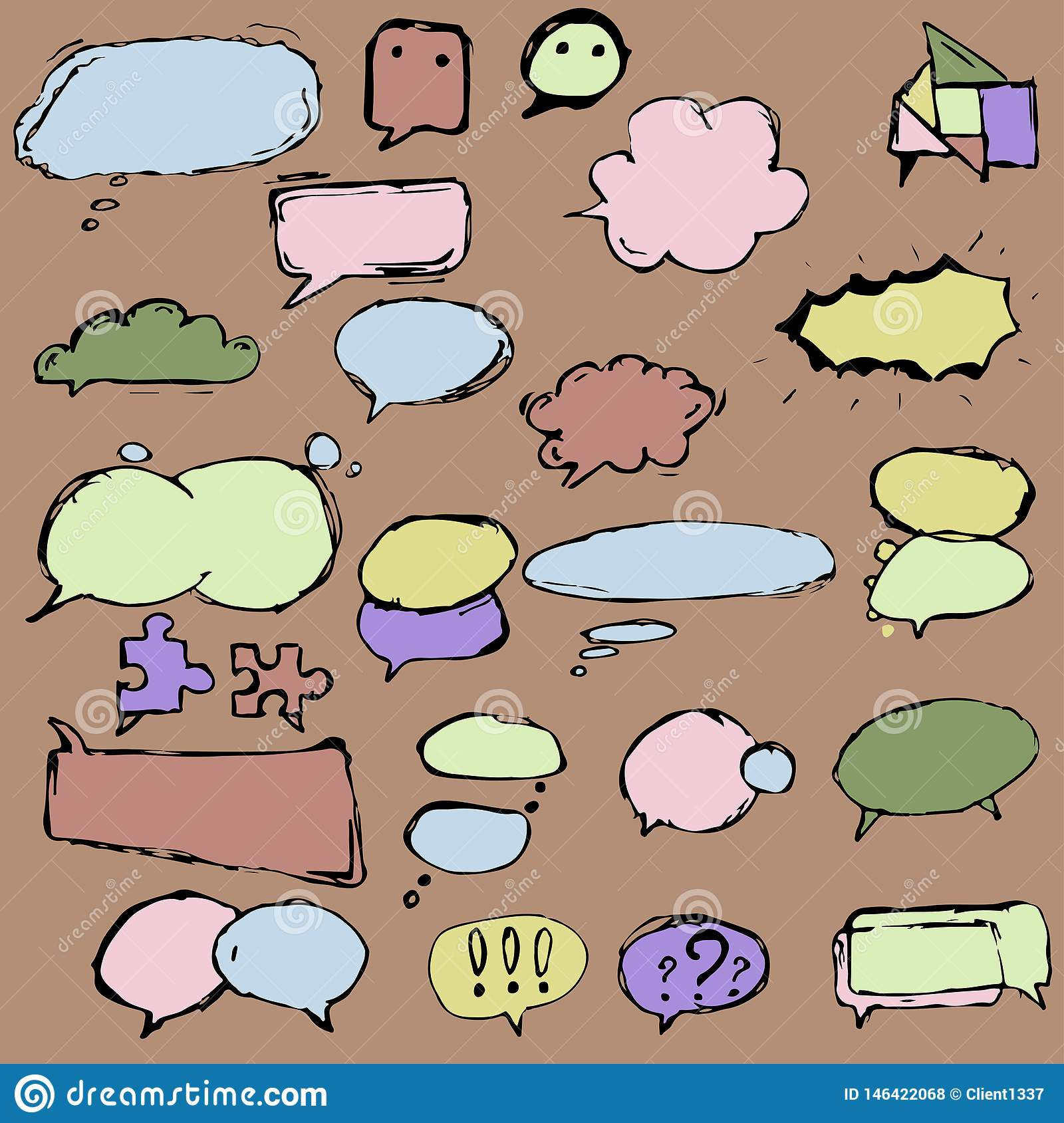 Cajas y globos de di?logo en diversas formas