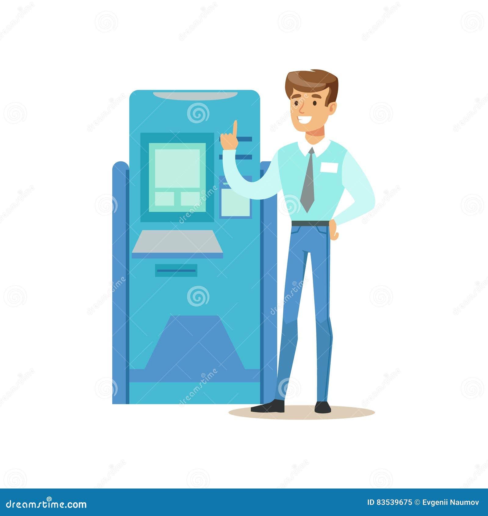 Cajero automático de la atmósfera de Standing Next To del consultor del banco Servicio de banco, administración de cuentas y vect