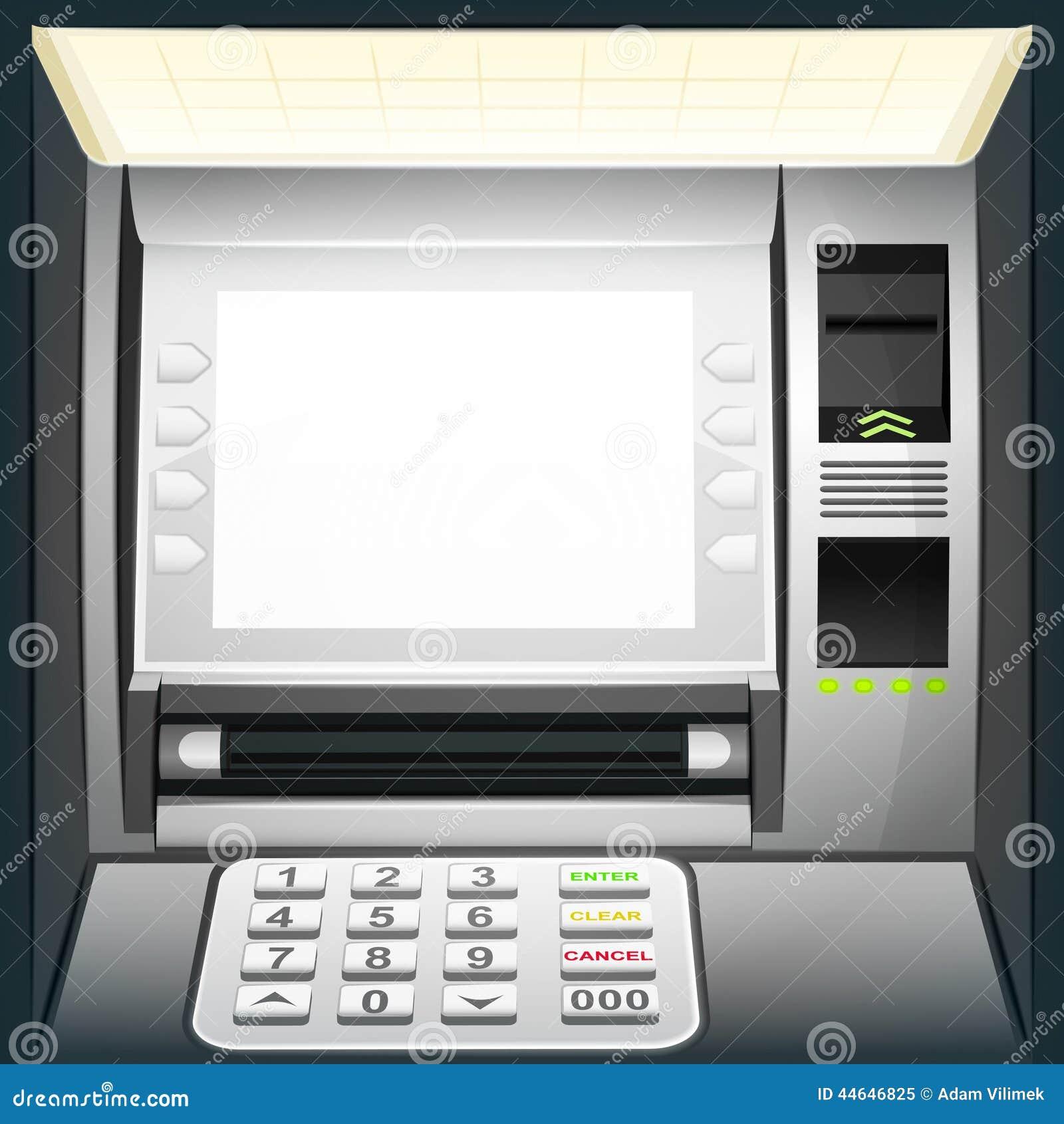 Cajero autom tico iluminado con la pantalla blanca en for Como cobrar en un cajero automatico