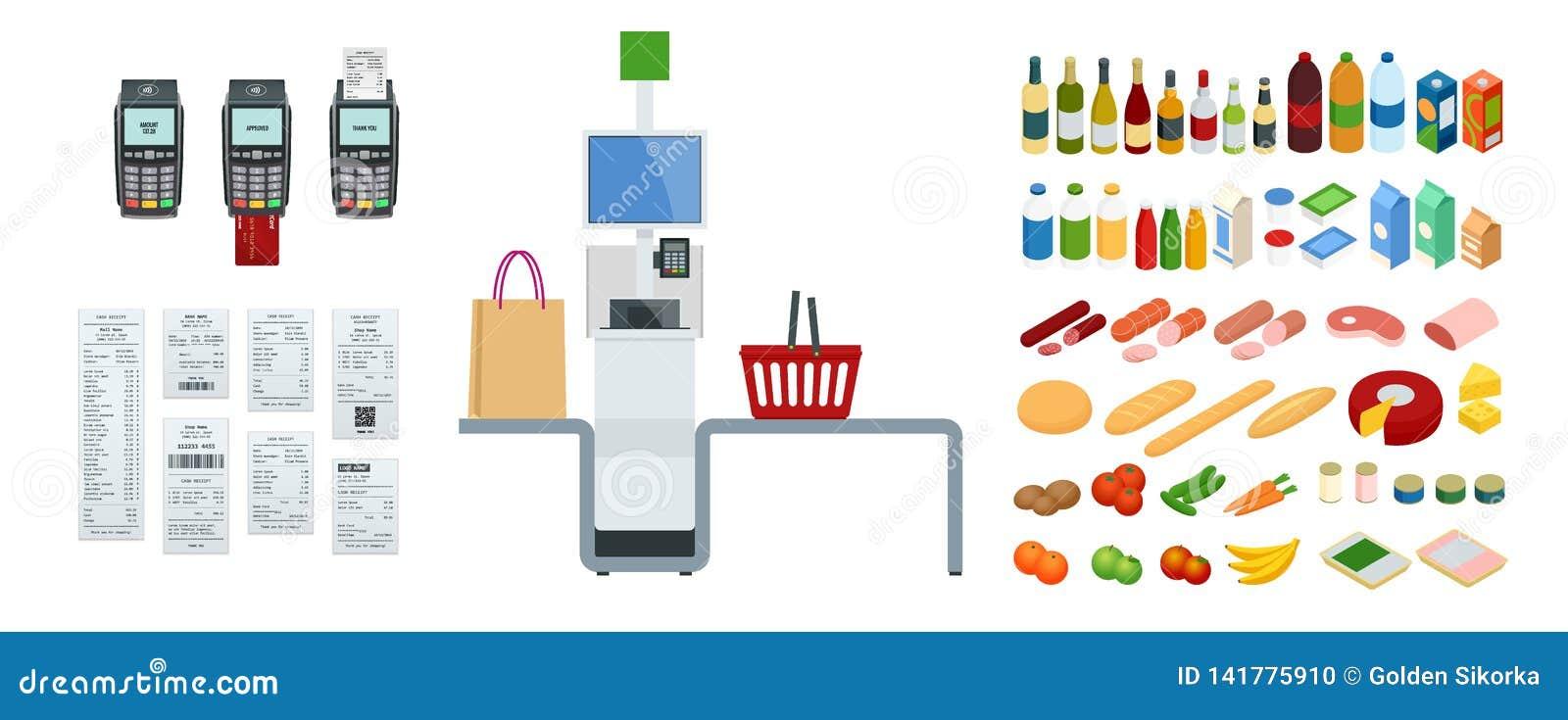 Cajero o terminal isométrico del autoservicio El punto con el pago y envío del autoservicio en el supermercado