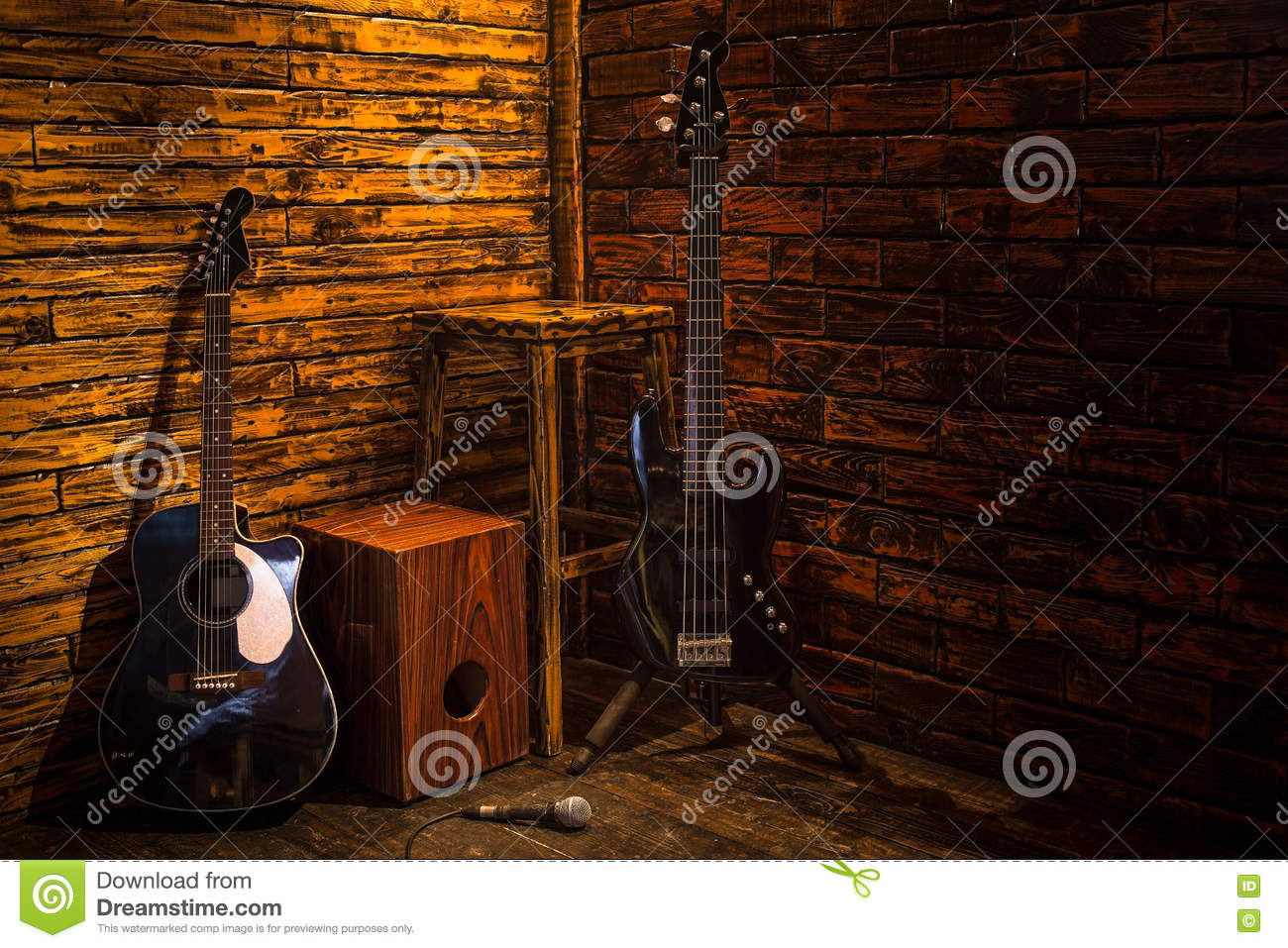 Cajon Bass And Acoustic Guitar On Wooden Stage Stock Image Image