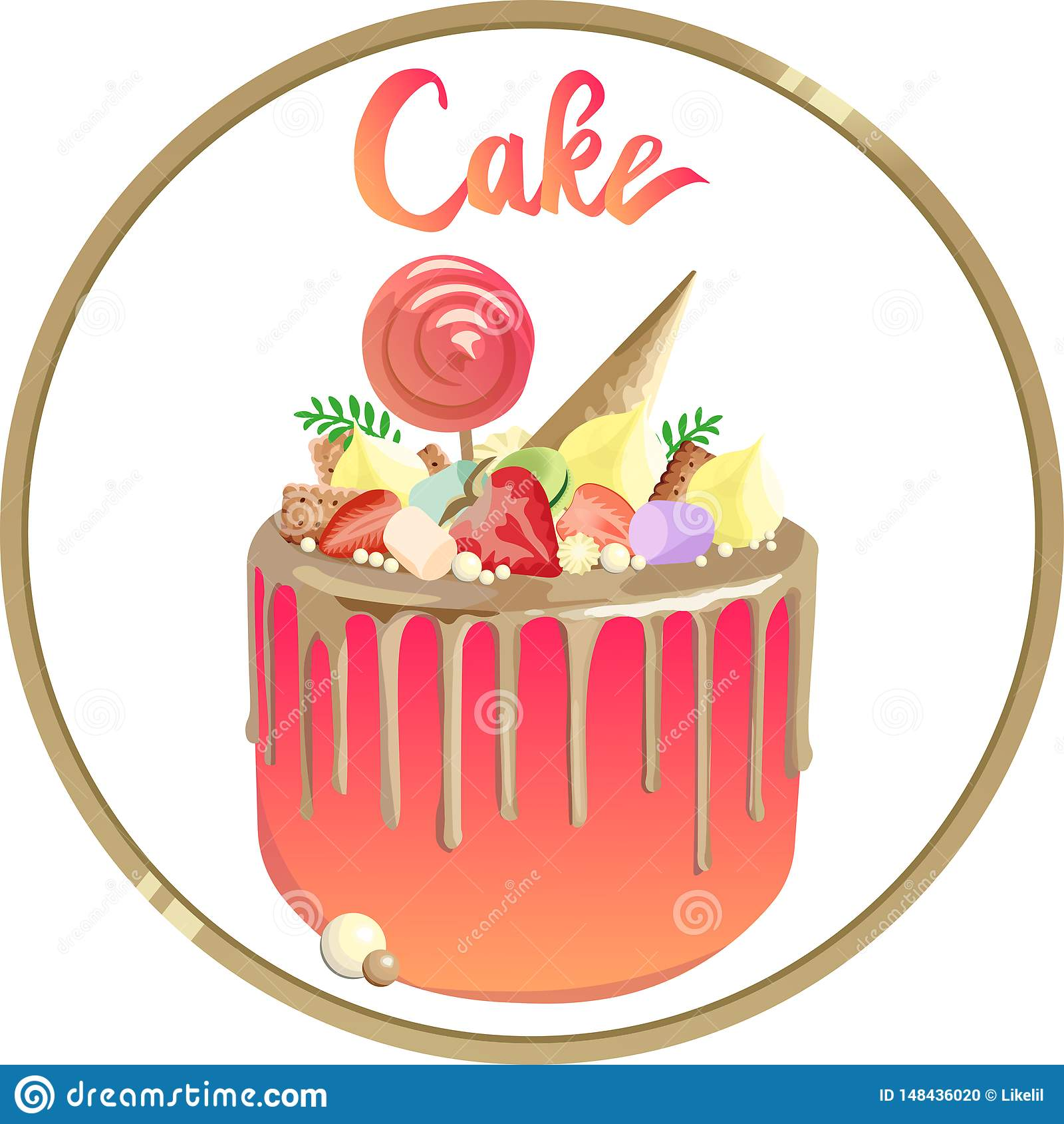Beautiful cake with gold toppings and pink cream. Logo for bakery
