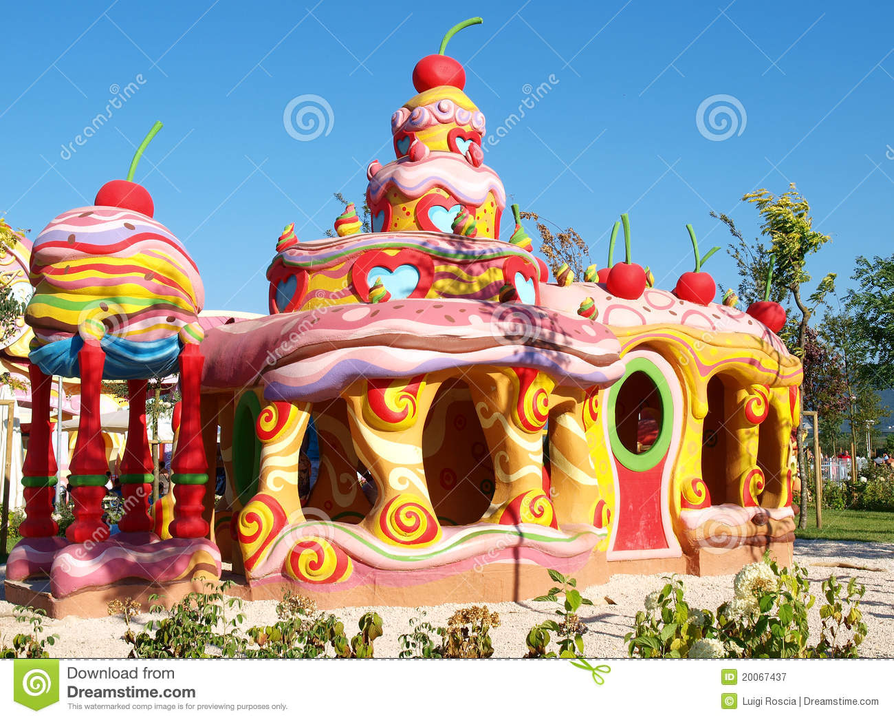 Colorful cake house in Rainbow Magic-Land playground in Valmontone ...