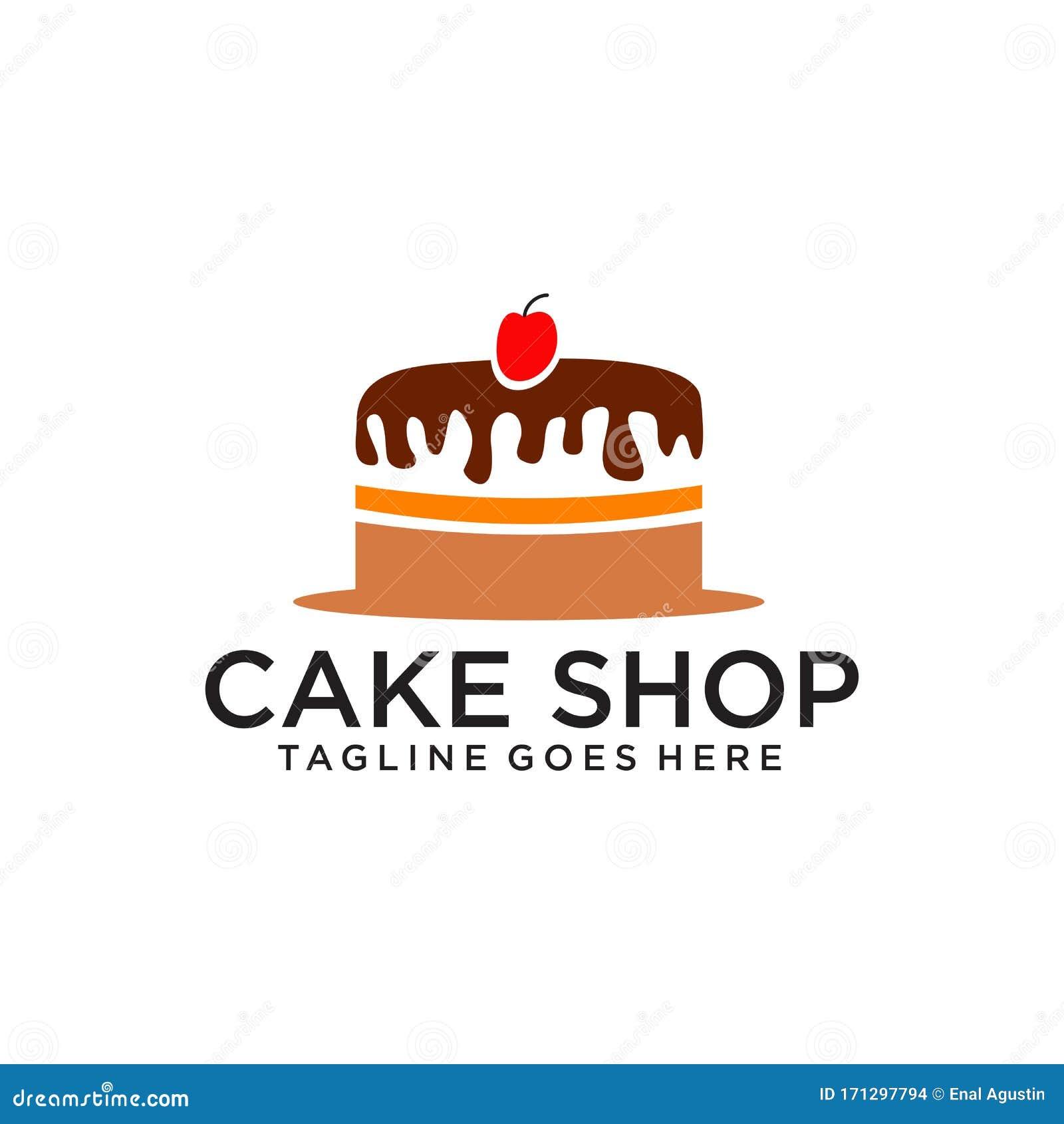 Retro Bakery Logo Concept: Cake Bakery Shop Logo Design Vector Template Stock Vector