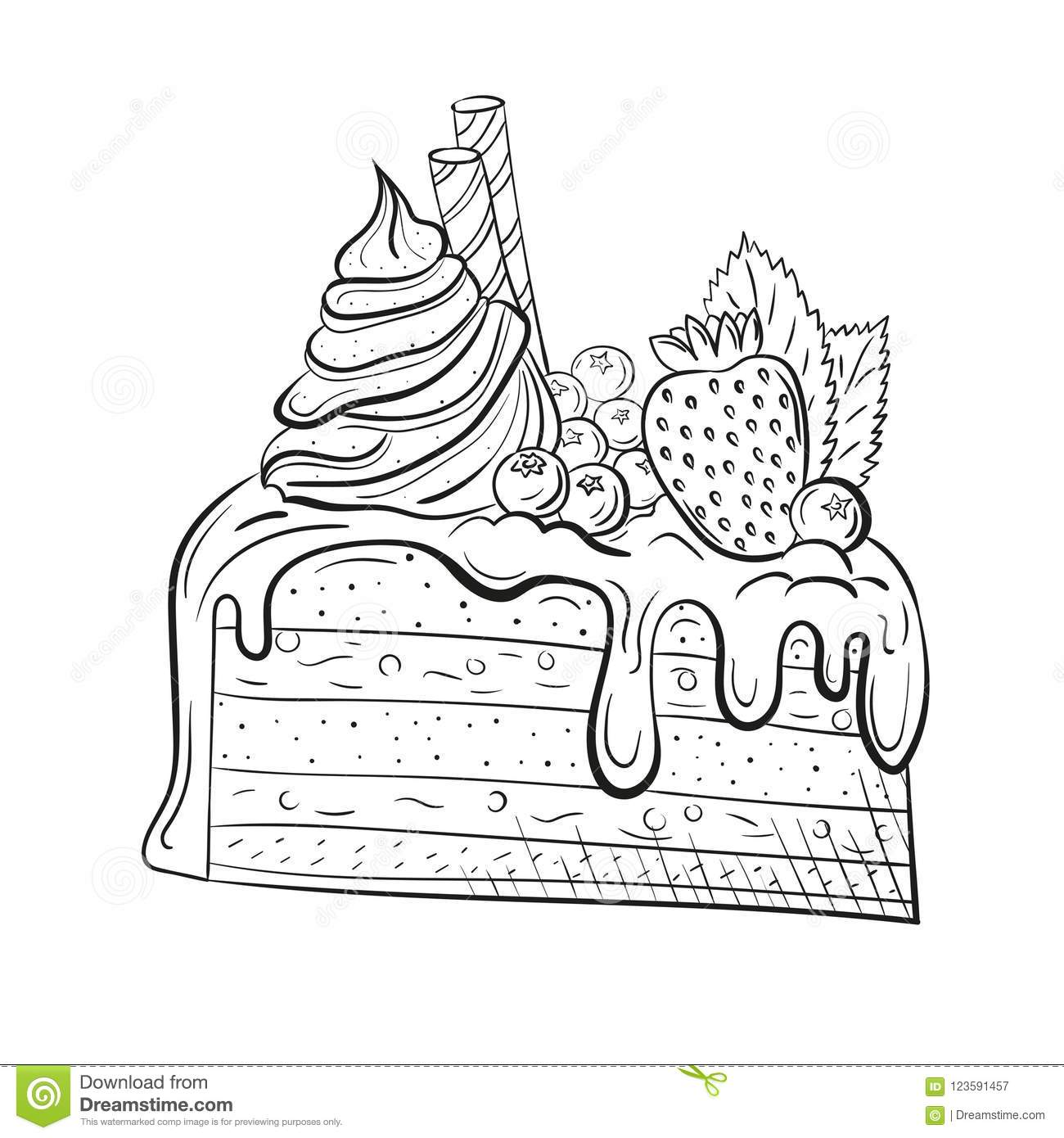cake with berries, cream and mint. sweet beautiful dessert. clipart