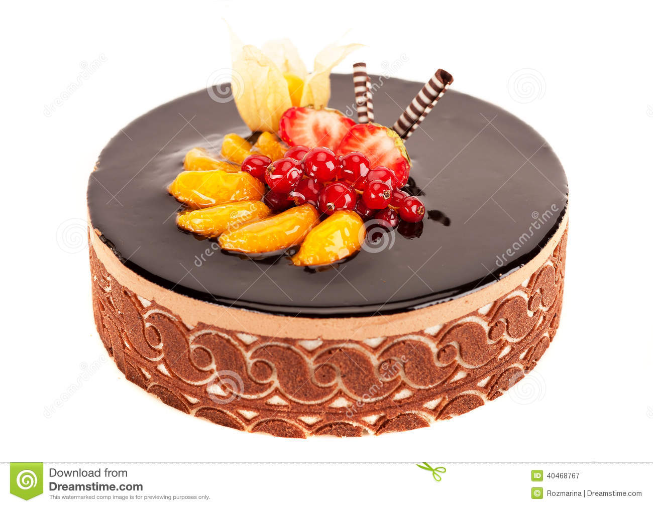 Cake With Berries Fruit And Chocolate Stock Image Image of