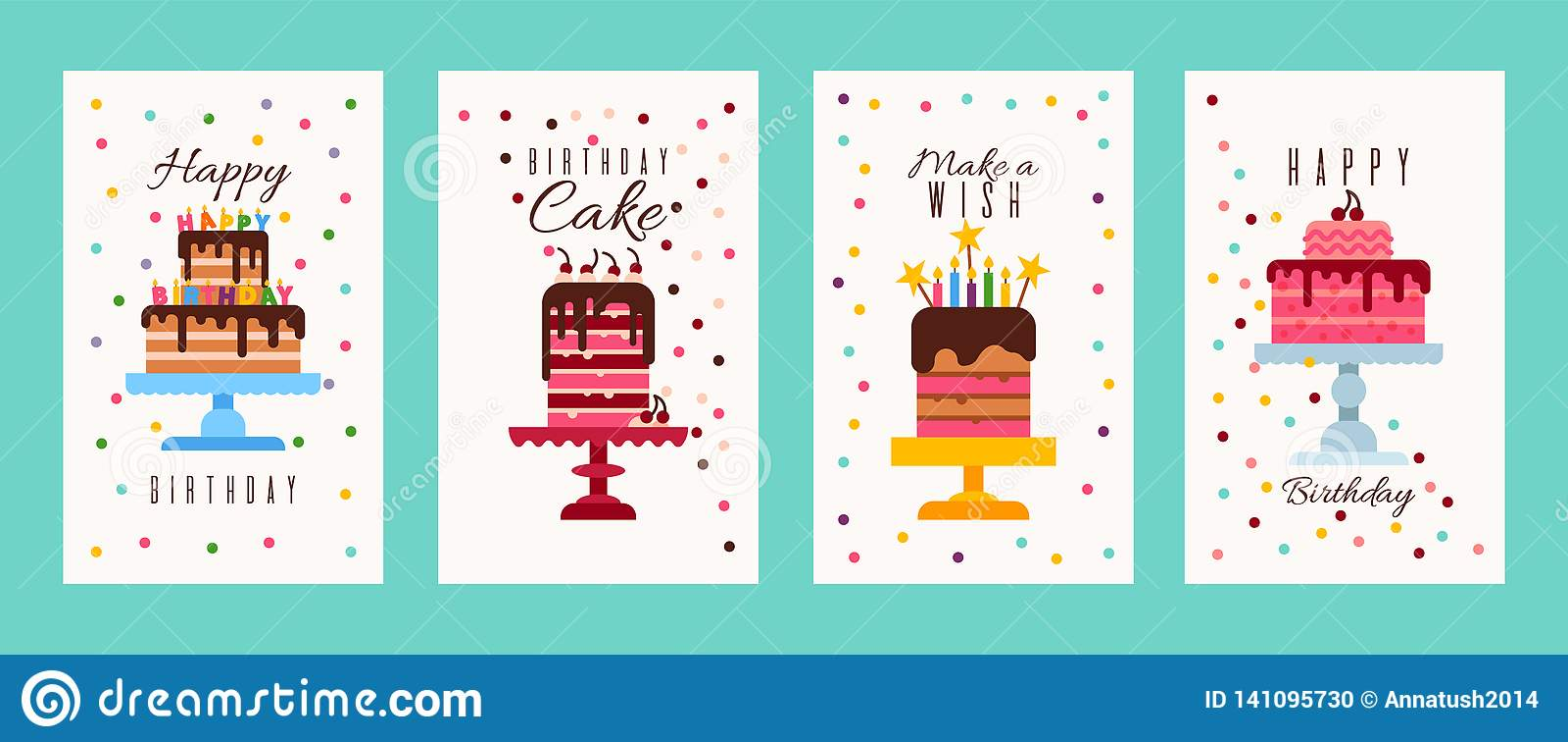 Cake Birthday Banners Or Birthday Invitation Cards Vector