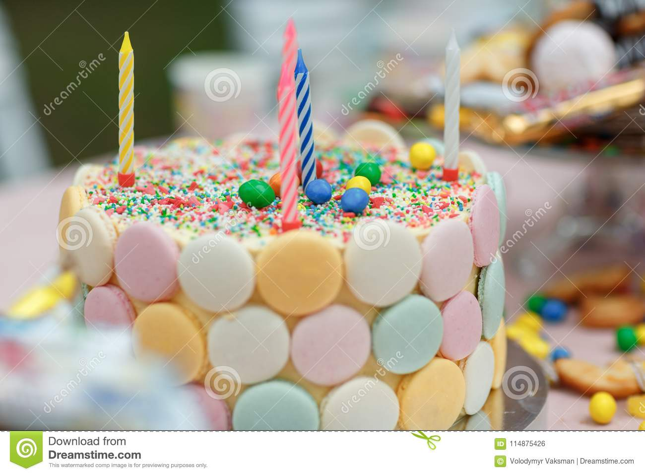 Cake Birthday Candles With Letters In Vintage Style Stock Photo