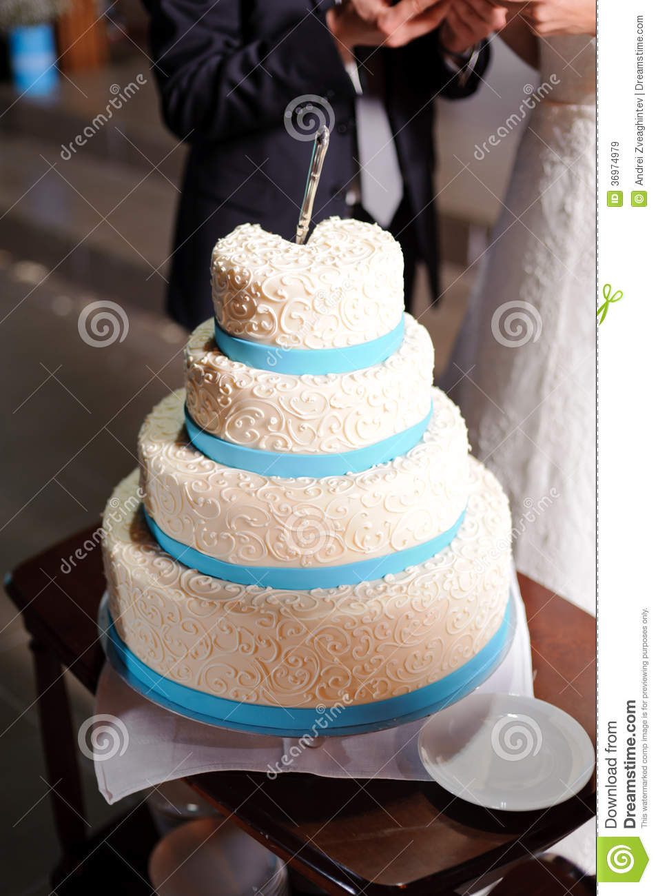 Cake With Blue Ribbon Stock Image Image Of Reception 36974979