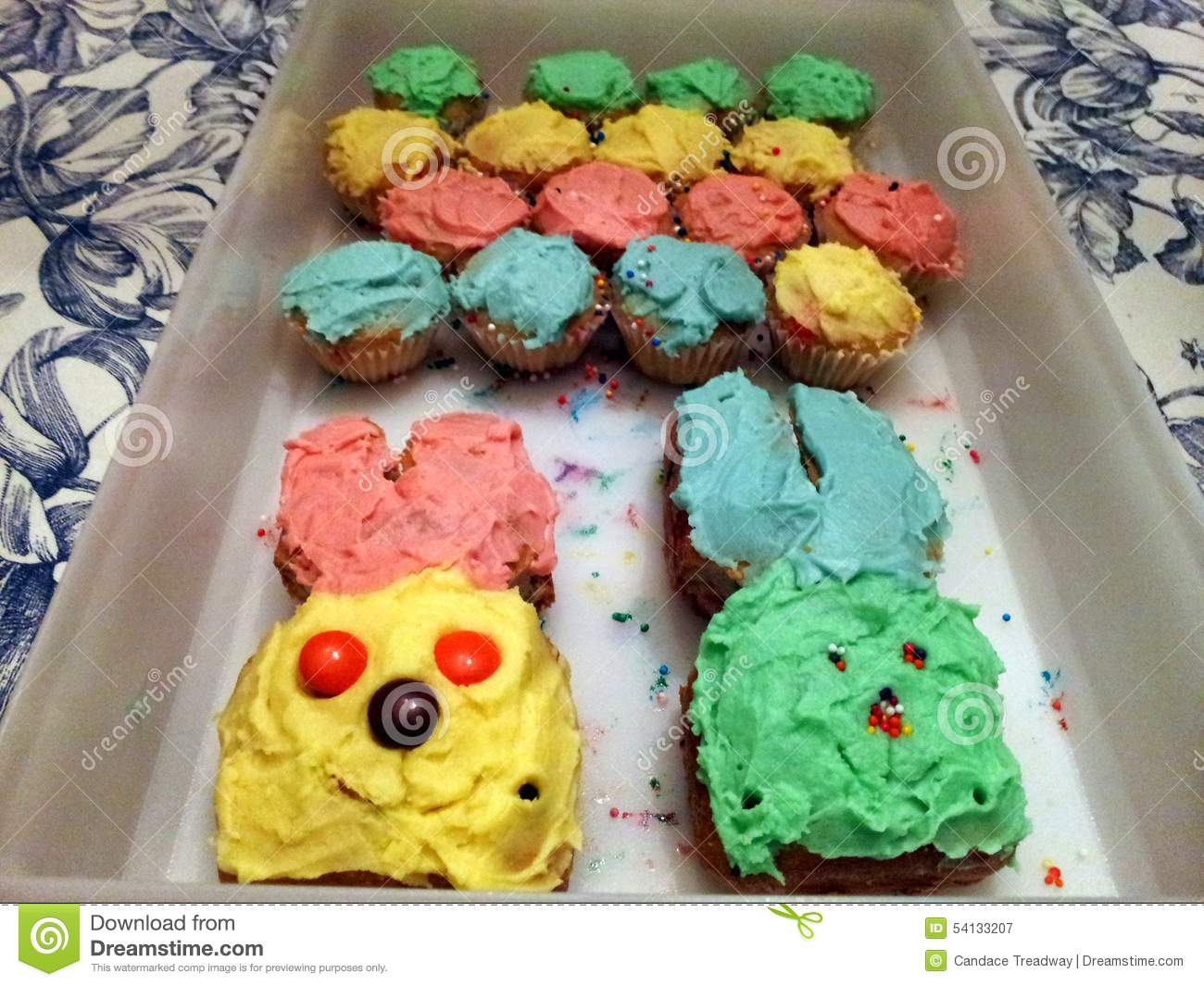 Made Cakes Shaped Like Bunnies And Cupcakes For Easter One Year