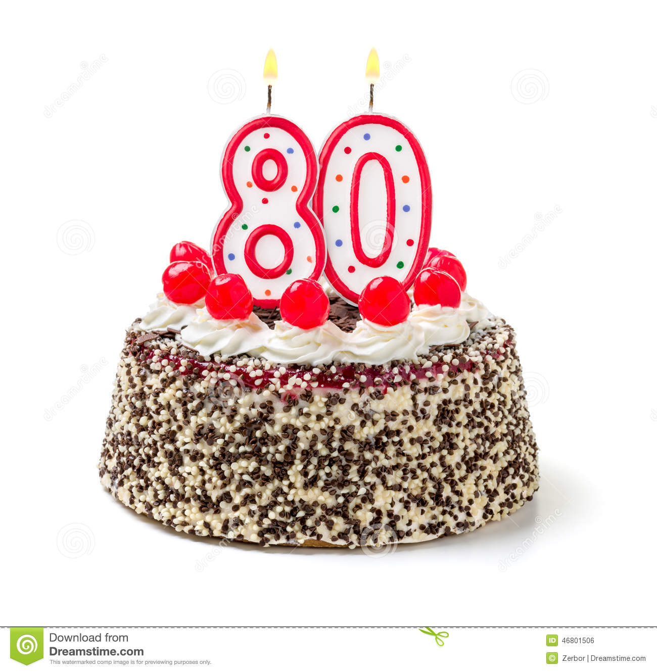 Cake With Burning Candle Number 80