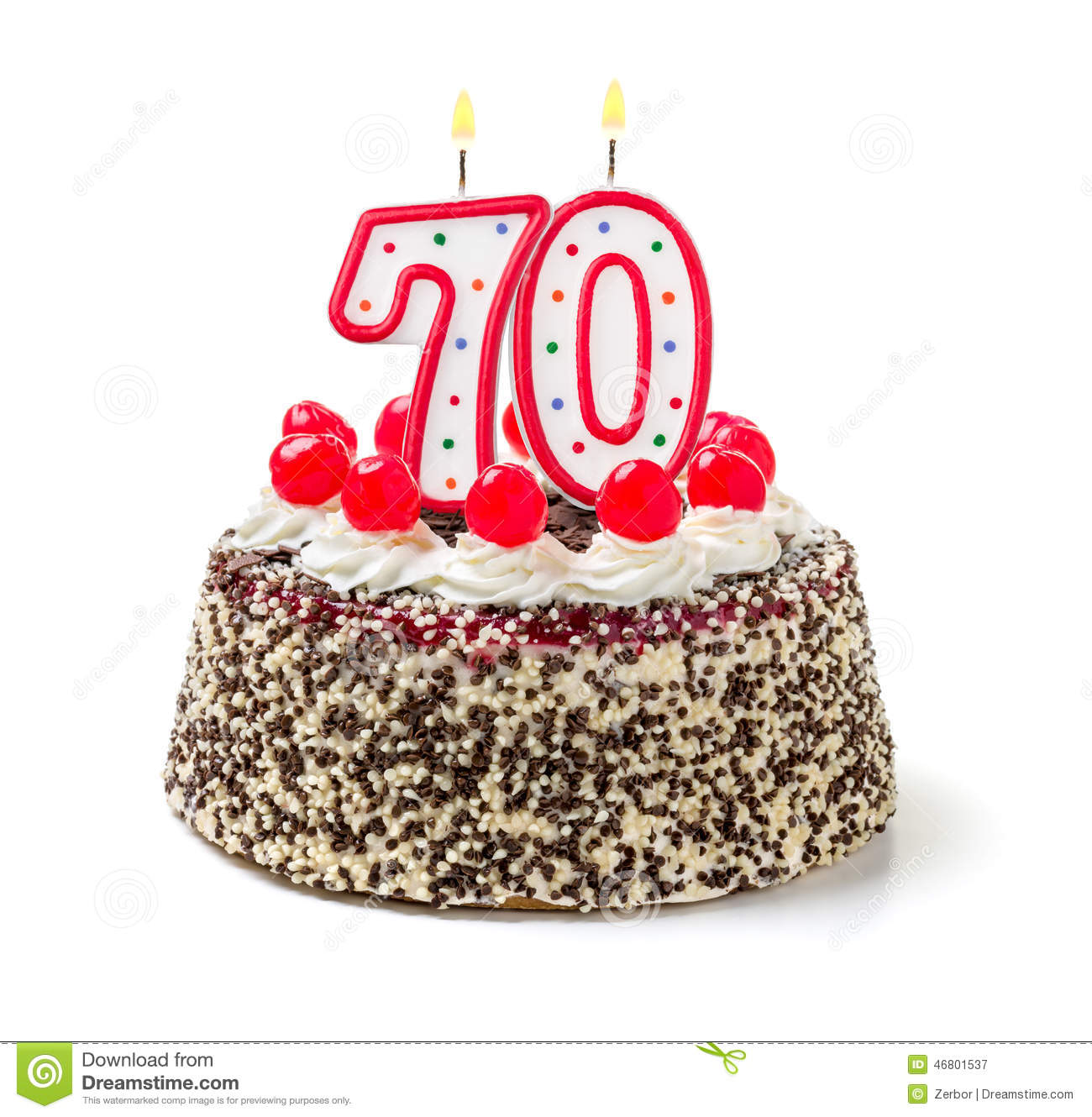 Cake With Burning Candle Number 70 Stock Photo - Image: 46801537
