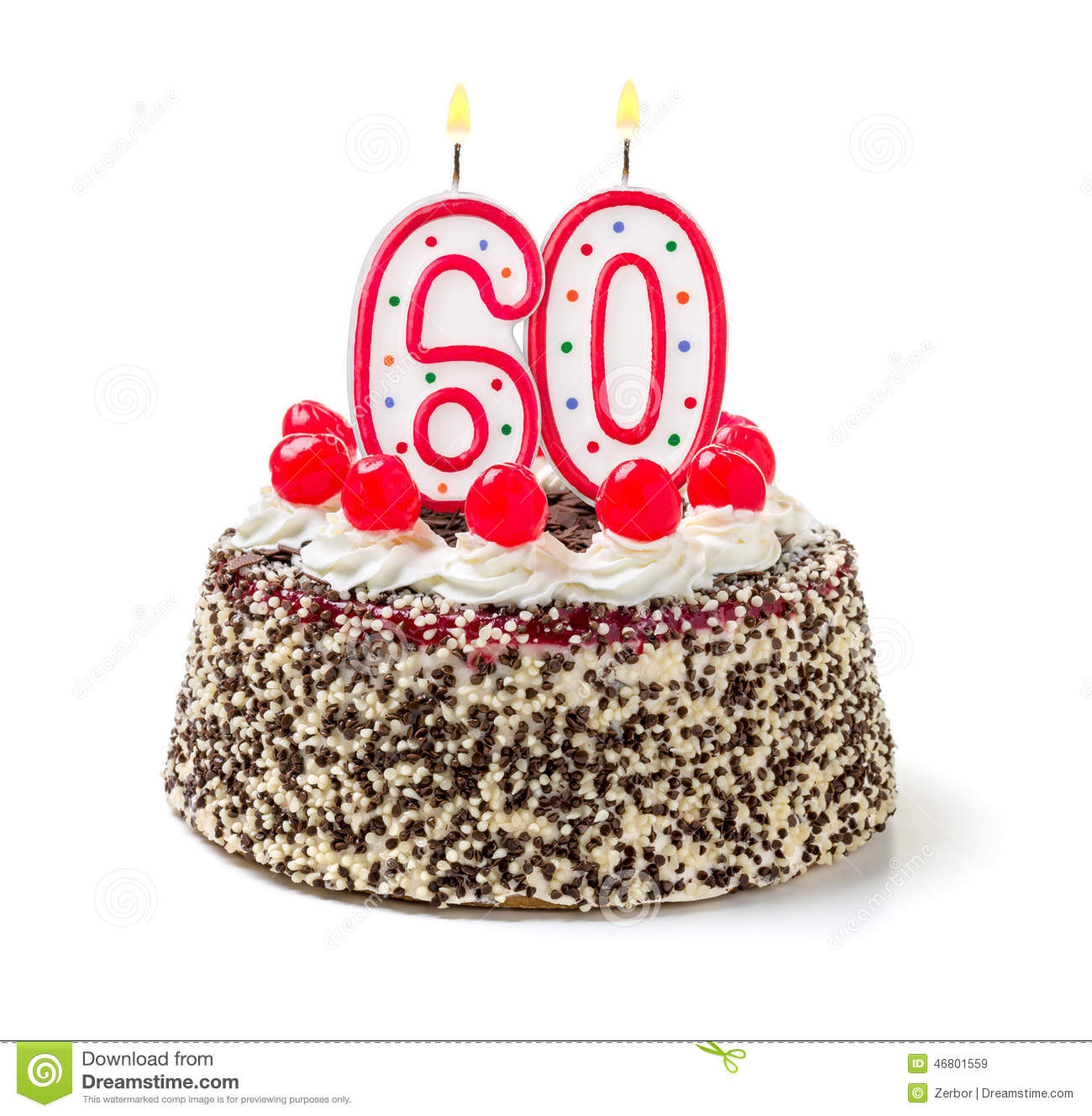 Cake With Burning Candle Number 60 Stock Image Image