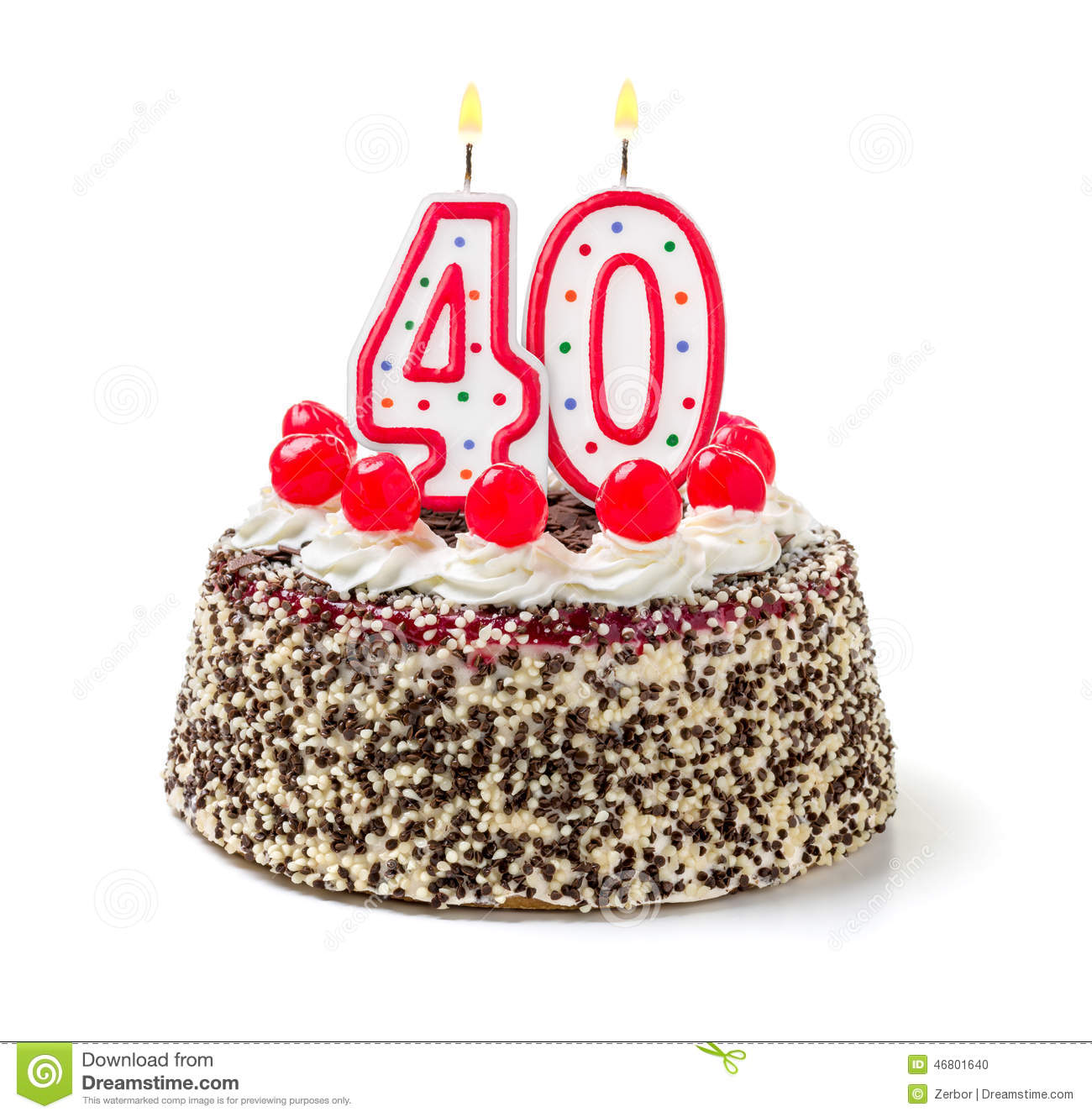 Cake With Burning Candle Number 40 Stock Photo Image Of Frosting