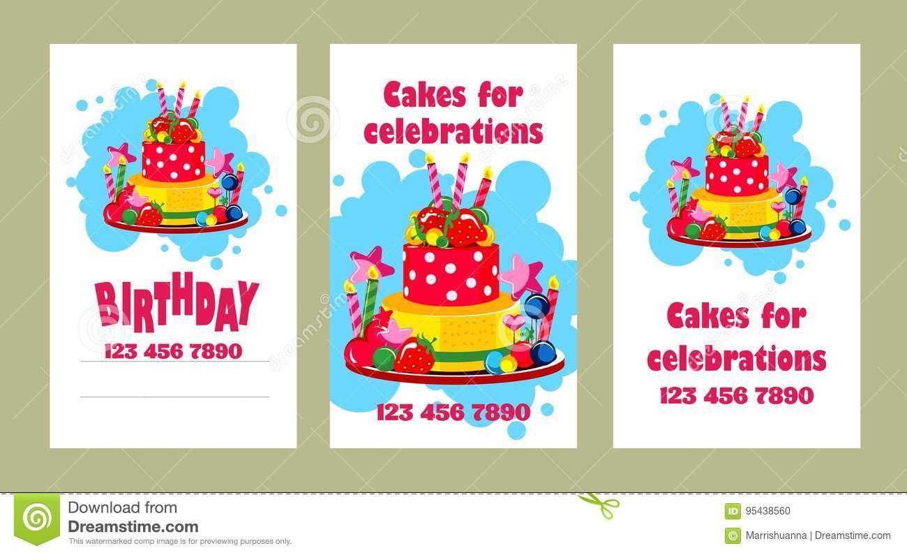 Cake Business Card Stock Vector Illustration Of Brochure 95438560