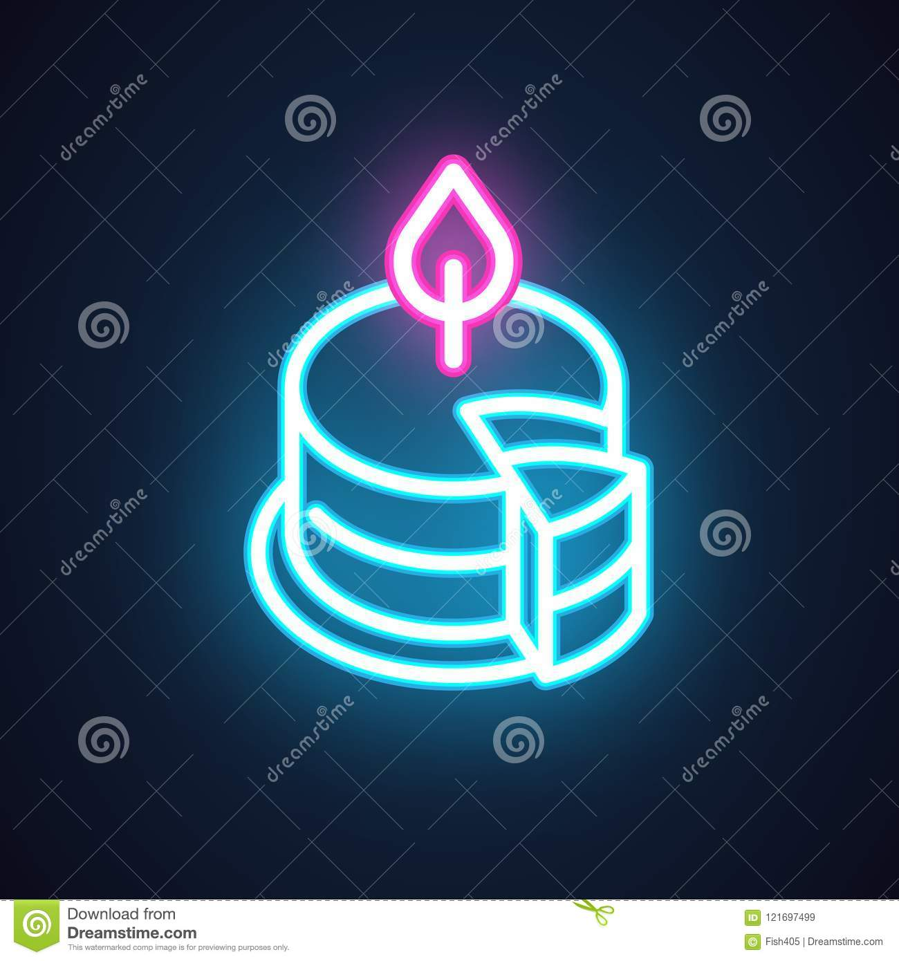 Cake With Candle Neon Icon Holiday And Party Symbol Sweet Dessert
