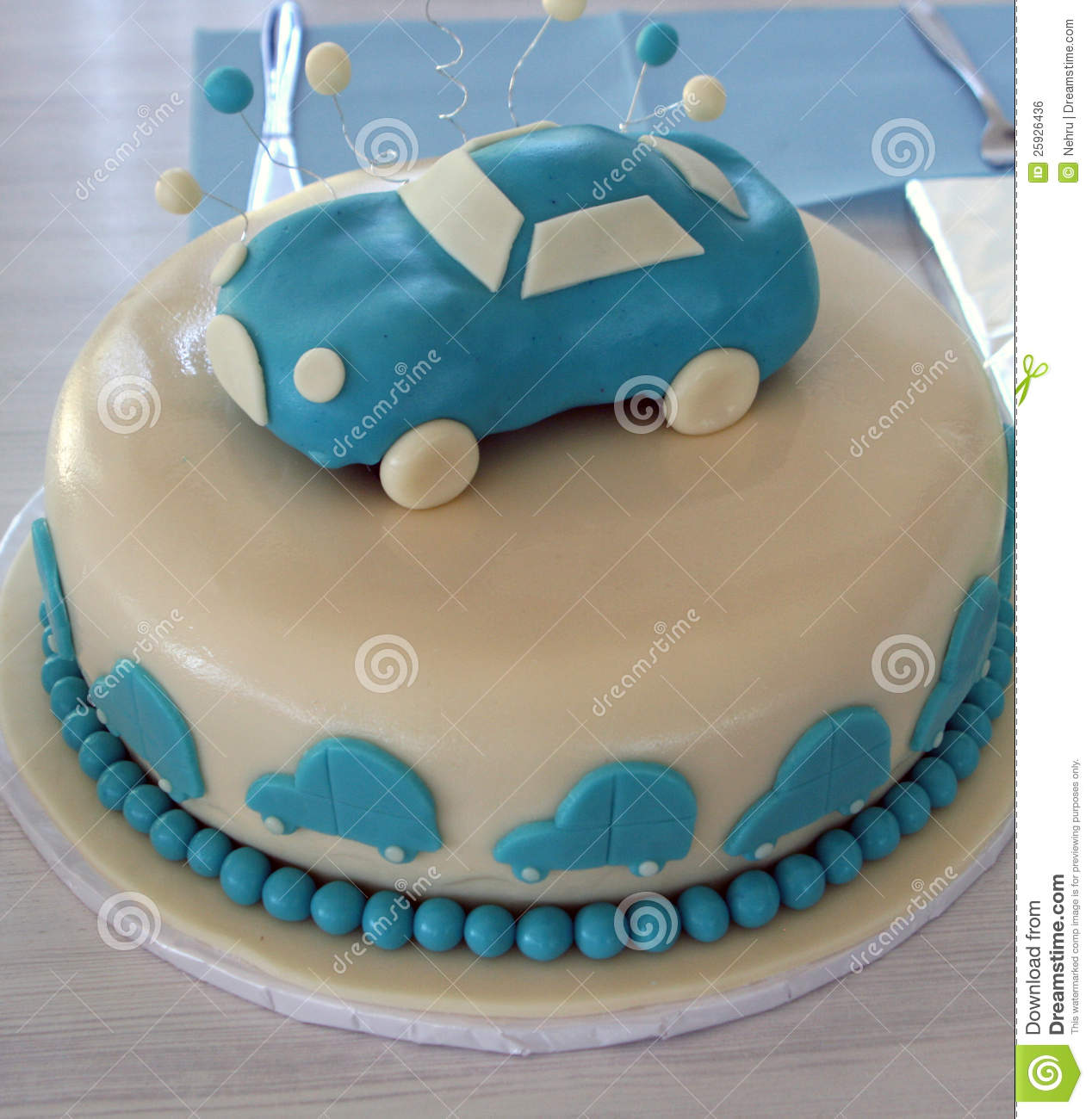 Cake With Car Decorations Royalty Free Stock Image Image