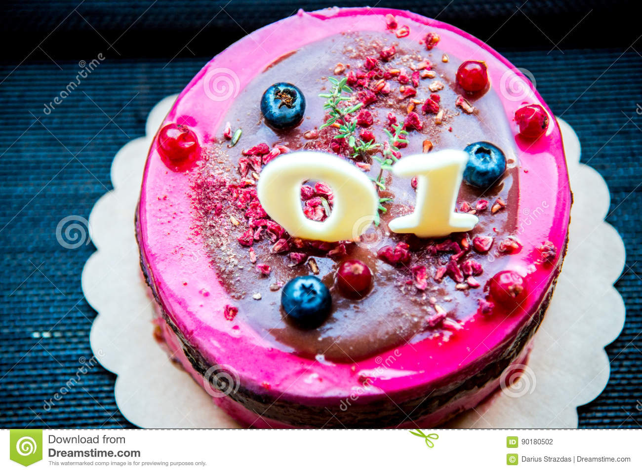 Cake For Child Birthday Stock Photo Image Of Blueberry 90180502